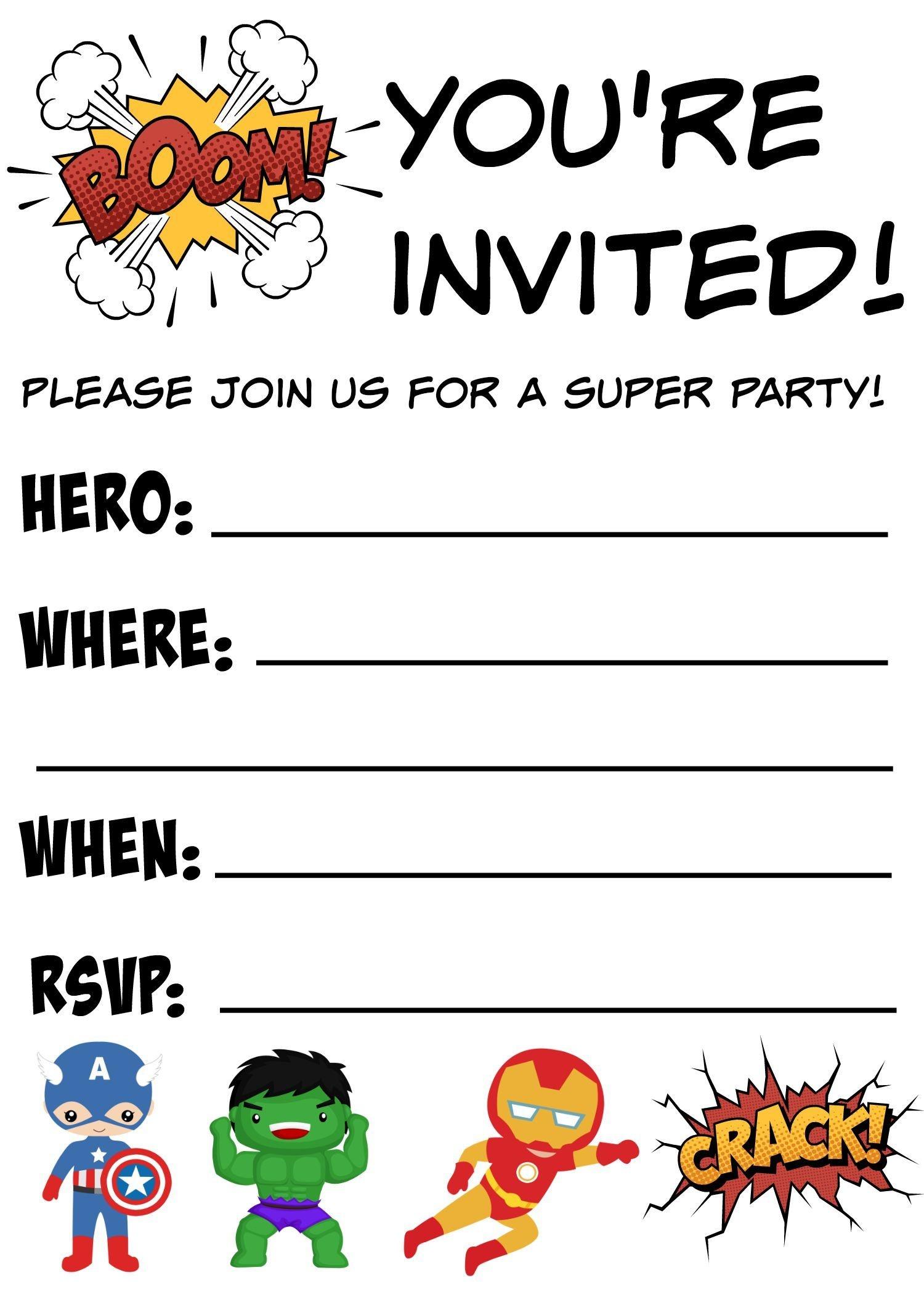 Free Printable Superhero Birthday Invitations   Birthdays - Free Printable Avengers Birthday Party Invitations