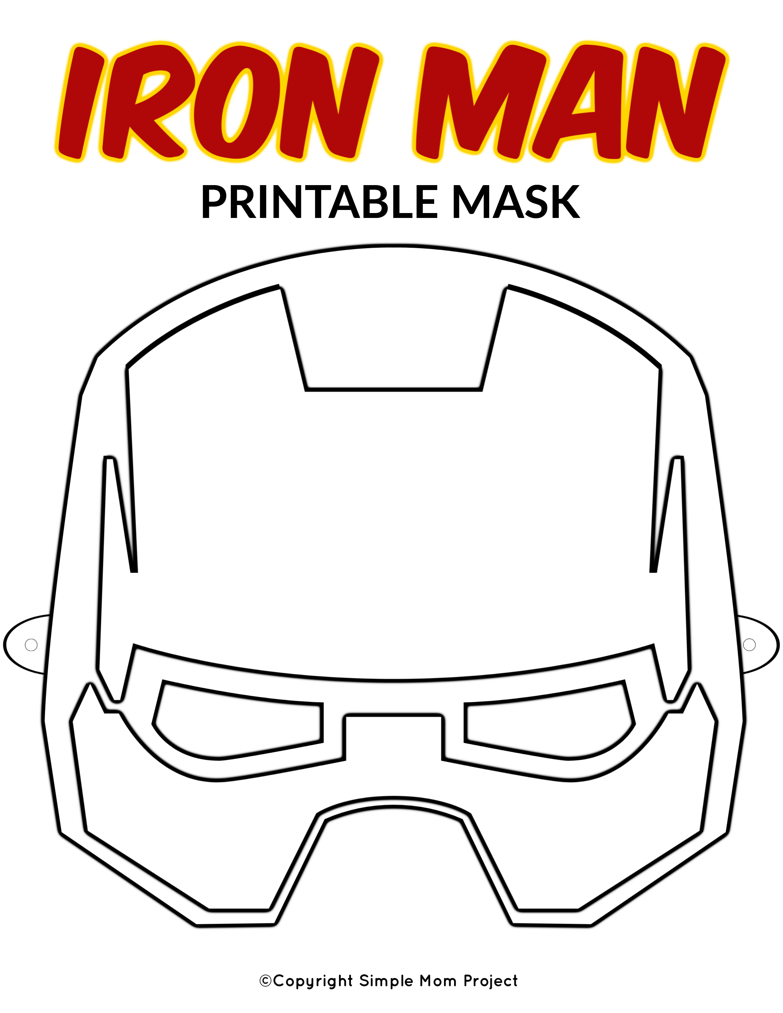 Free Printable Superhero Face Masks For Kids - Simple Mom Project - Free Printable Ironman Mask
