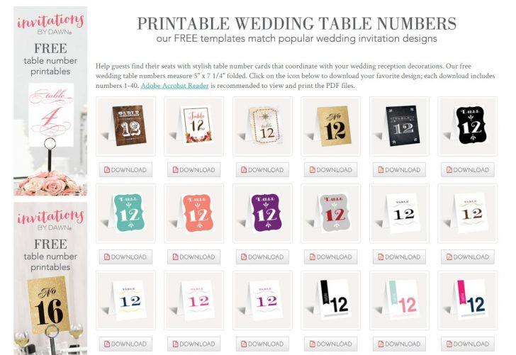 Free Printable Table Numbers 1 30