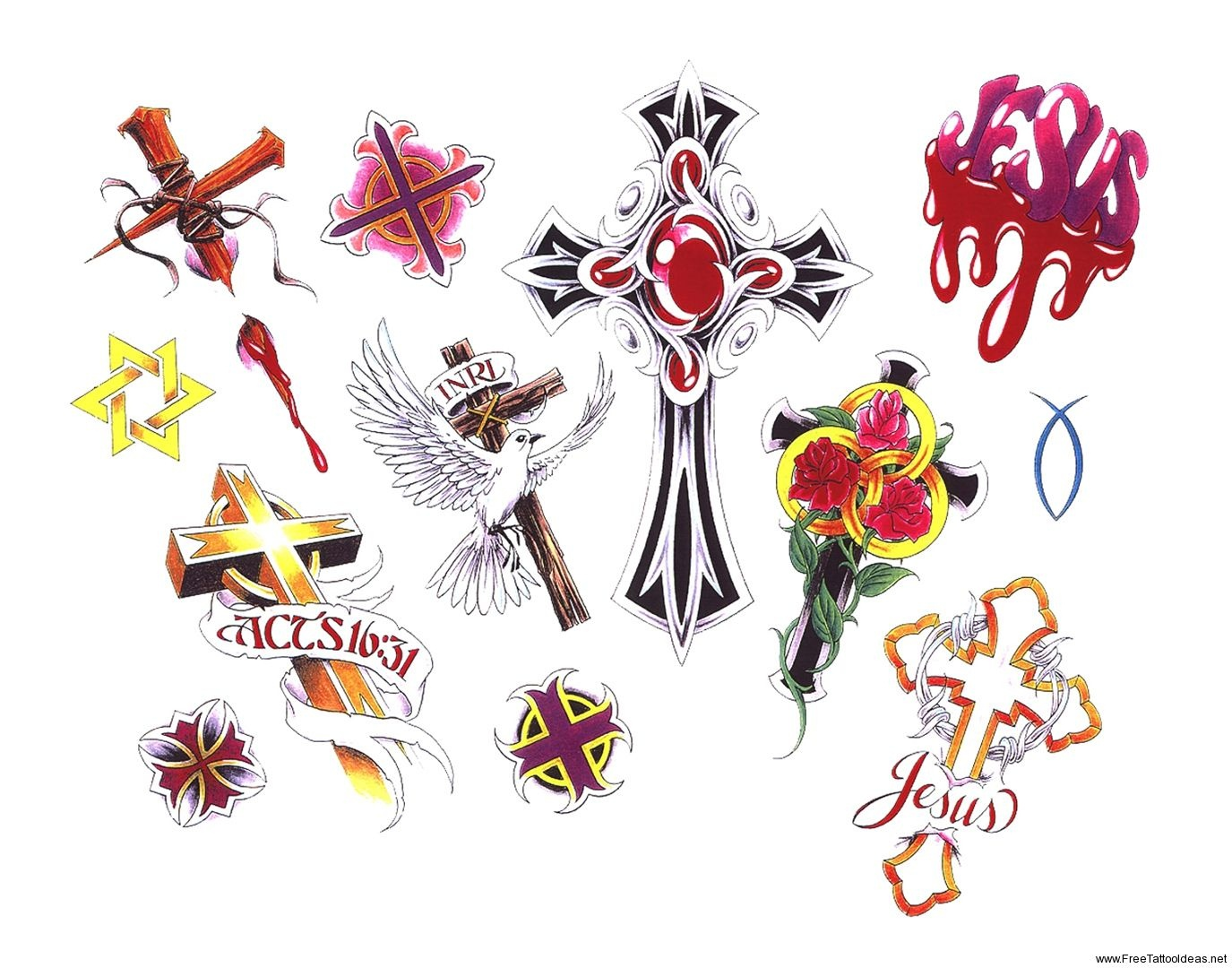 Free Printable Tattoo Flash | Cross Tattoos Designs - Free Cross - Free Printable Tattoo Flash