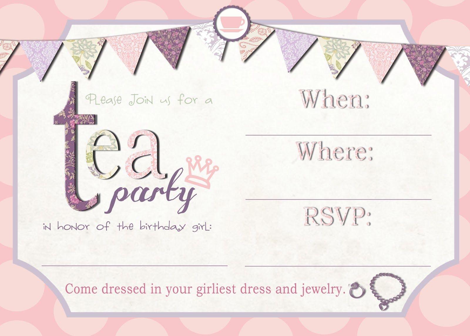 Free Printable Tea Party Invitation Template | Tea Party In 2019 - Free Printable Kitchen Tea Invitation Templates