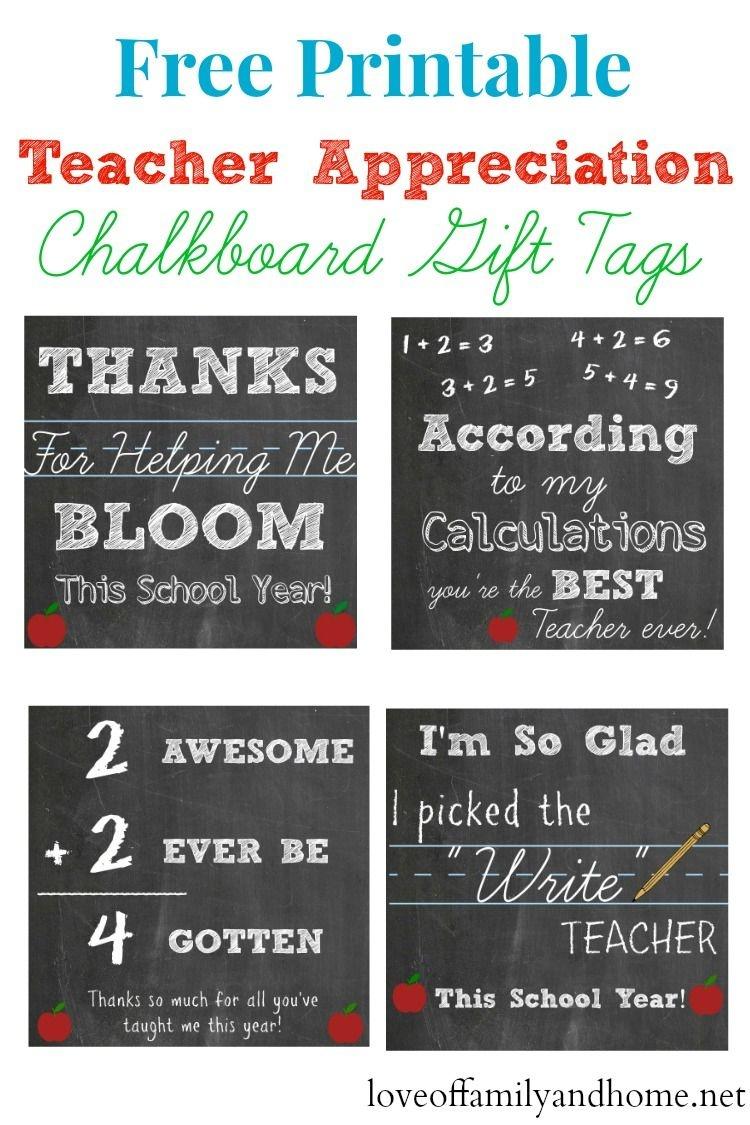 Free Printable Teacher Appreciation Chalkboard Gift Tags - Free Printable Tags For Teacher Appreciation