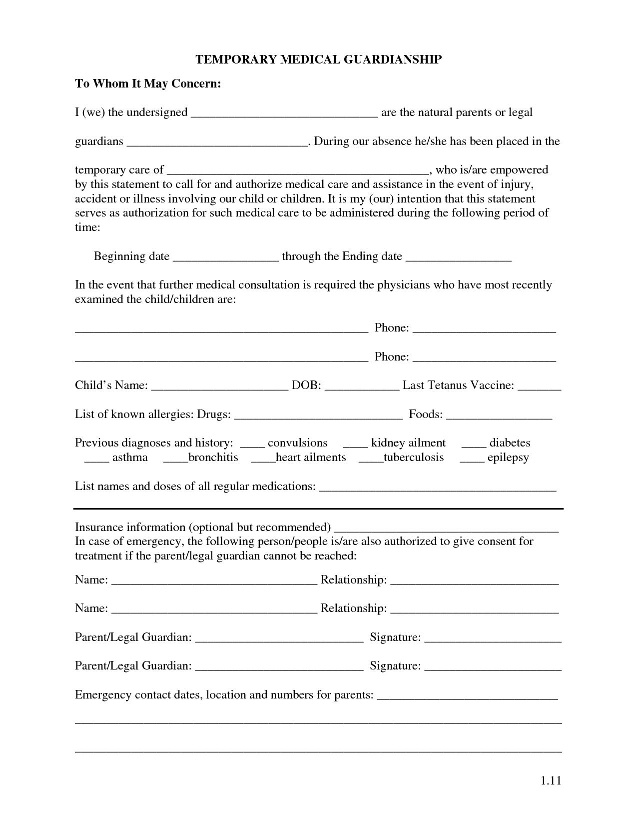 Free Printable Temporary Guardianship Forms | Forms | Child Custody - Free Printable Guardianship Forms