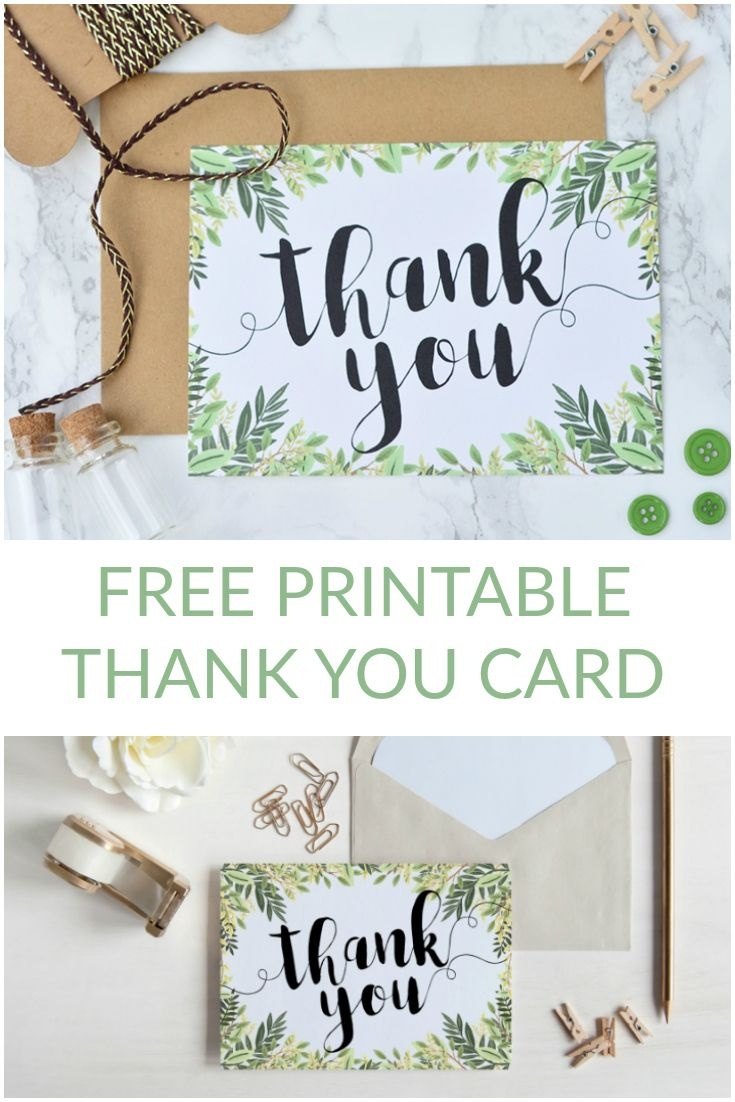 Free Printable Thank You Botanical Inspired Card | Wedding - Free Printable Thank You