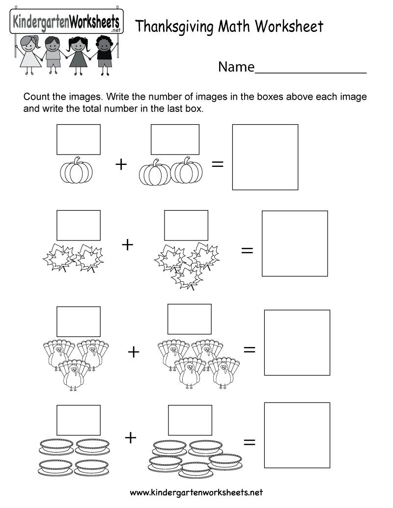 Free Printable Thanksgiving Math Worksheet For Kindergarten - Free Printable Thanksgiving Worksheets