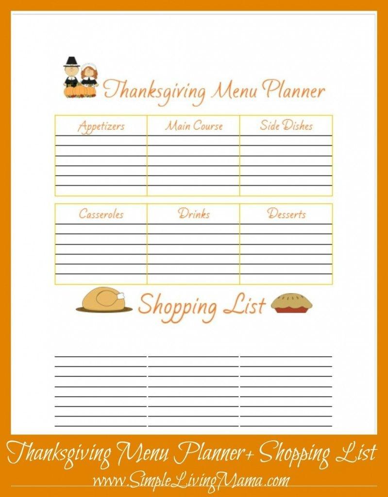 Free Printable Thanksgiving Menu Planner   Free Printables - Free Printable Thanksgiving Menu Template