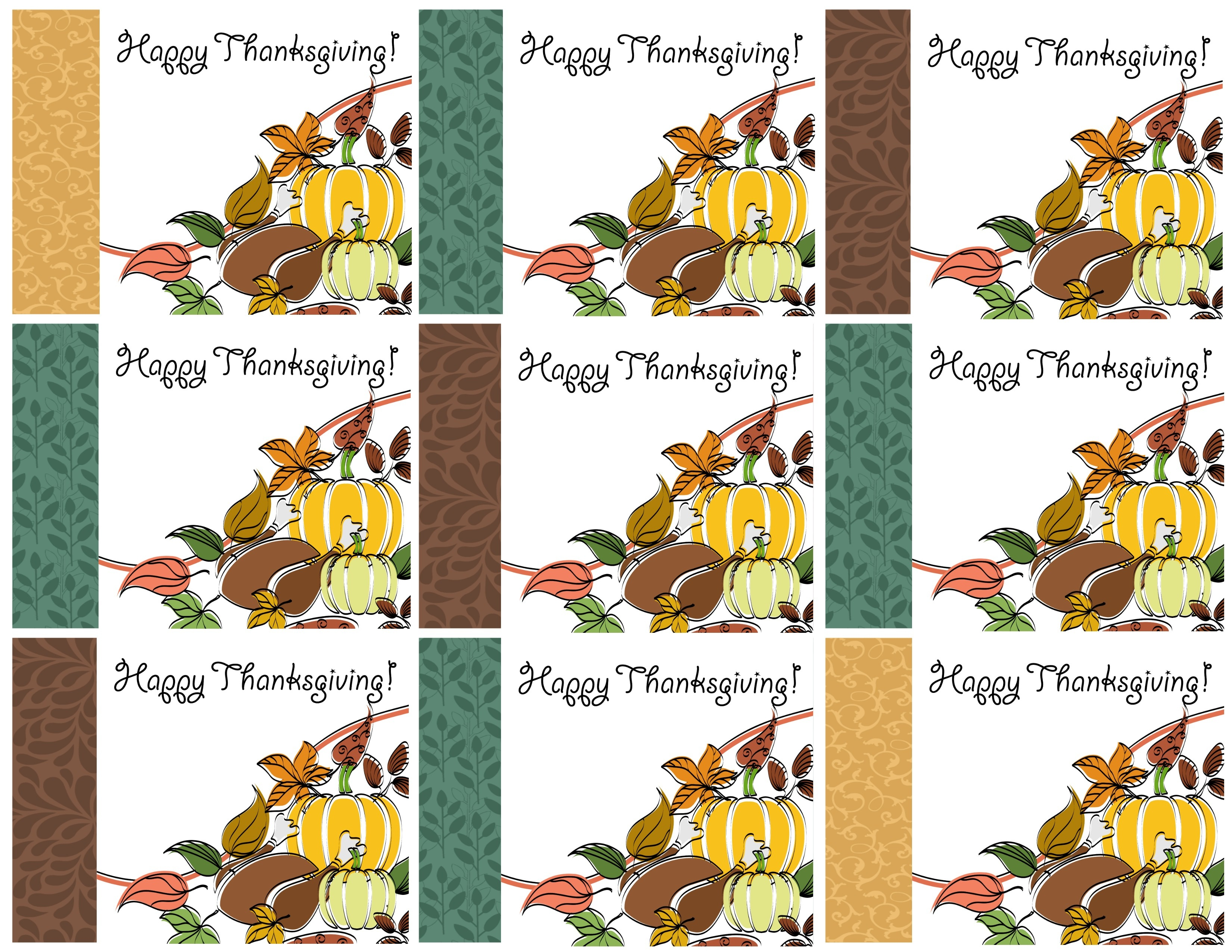 Free Printable Thanksgiving Place Cards -- Also Great For Cupcake - Free Printable Thanksgiving Treat Bag Toppers