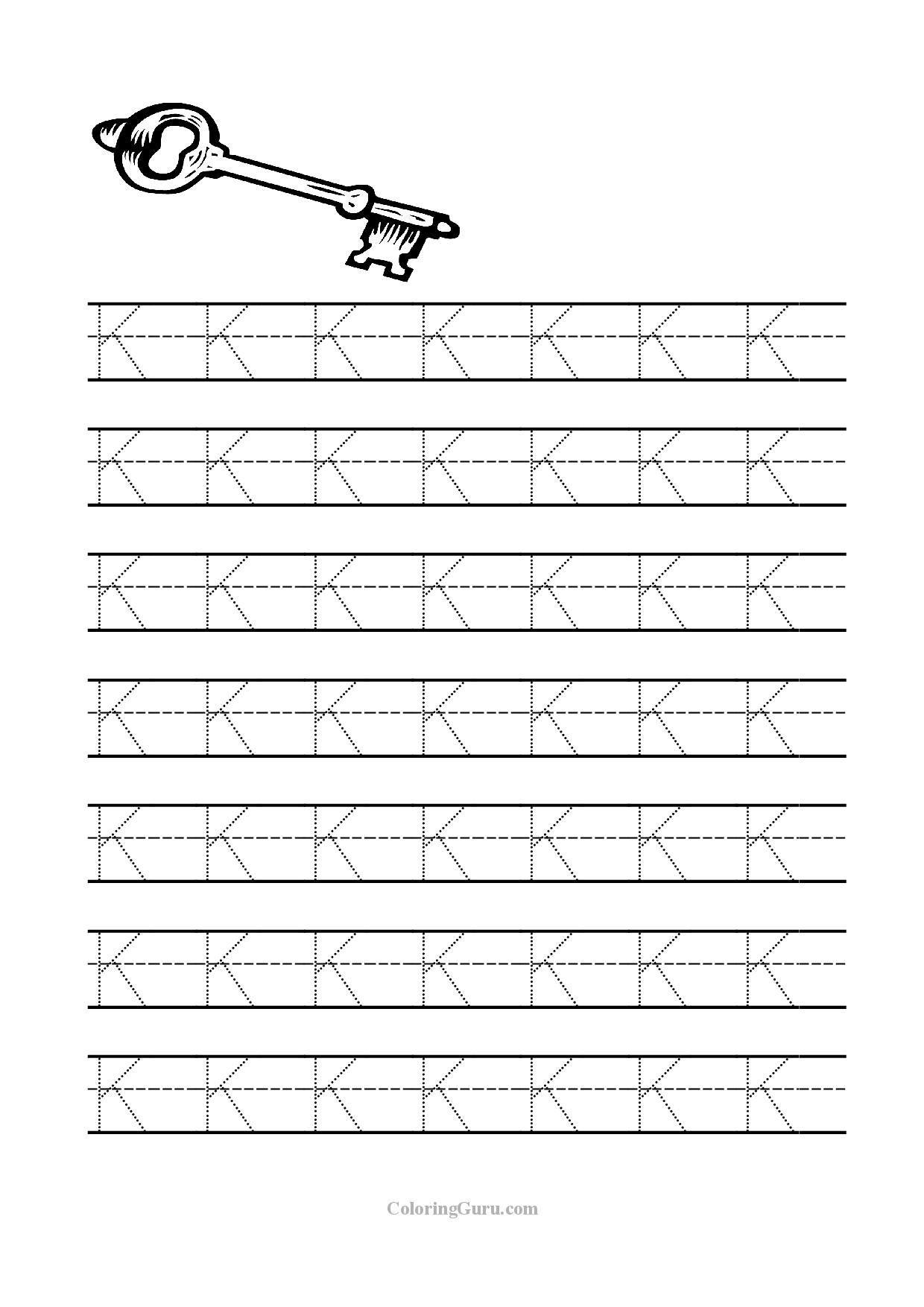 Free Printable Tracing Letter K Worksheets For Preschool | Kids - Free Printable Letter K Worksheets