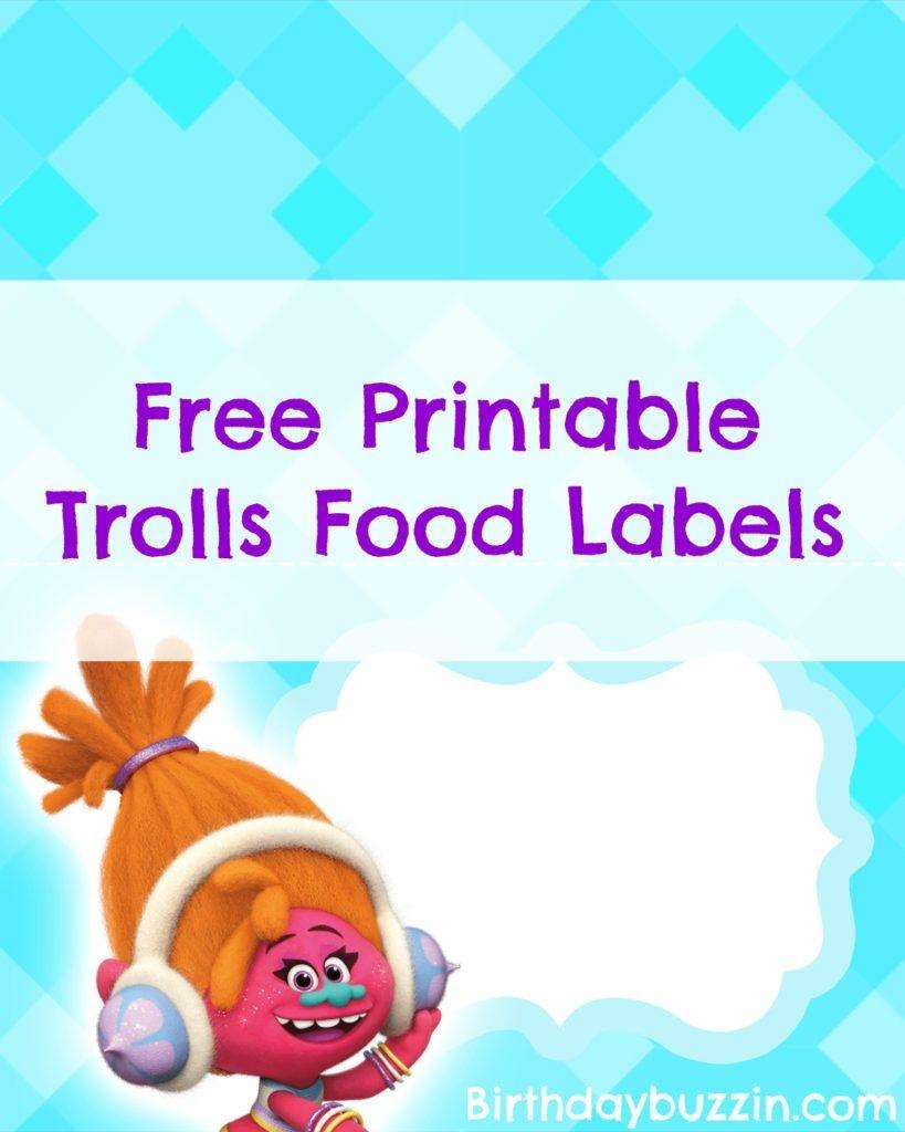 Free Printable Trolls Food Labels | Harper Bday | Trolls Birthday - Free Printable Trolls