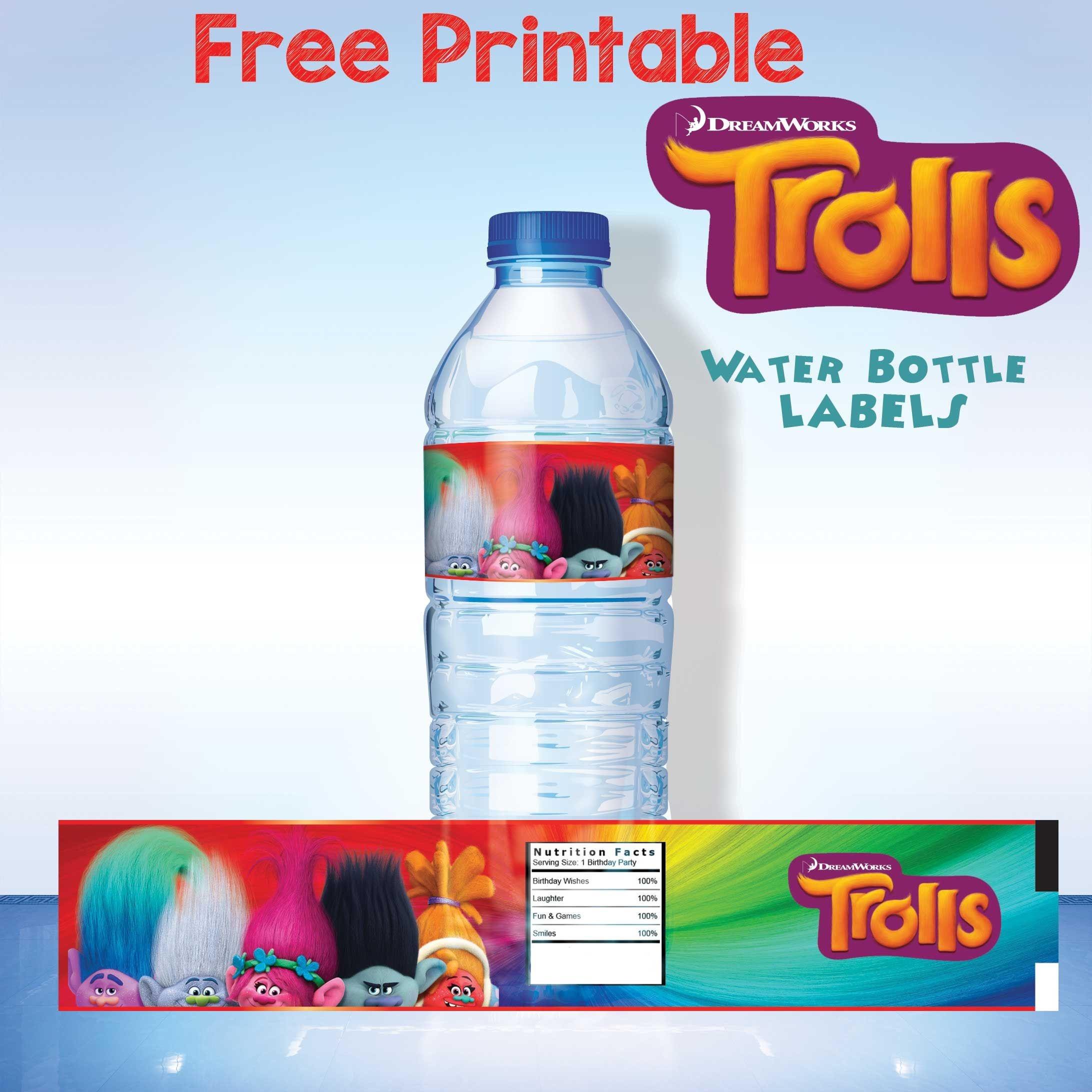 Free Printable Trolls Water Bottle Label | Trolls | Printable Water - Free Printable Water Bottle Labels For Birthday