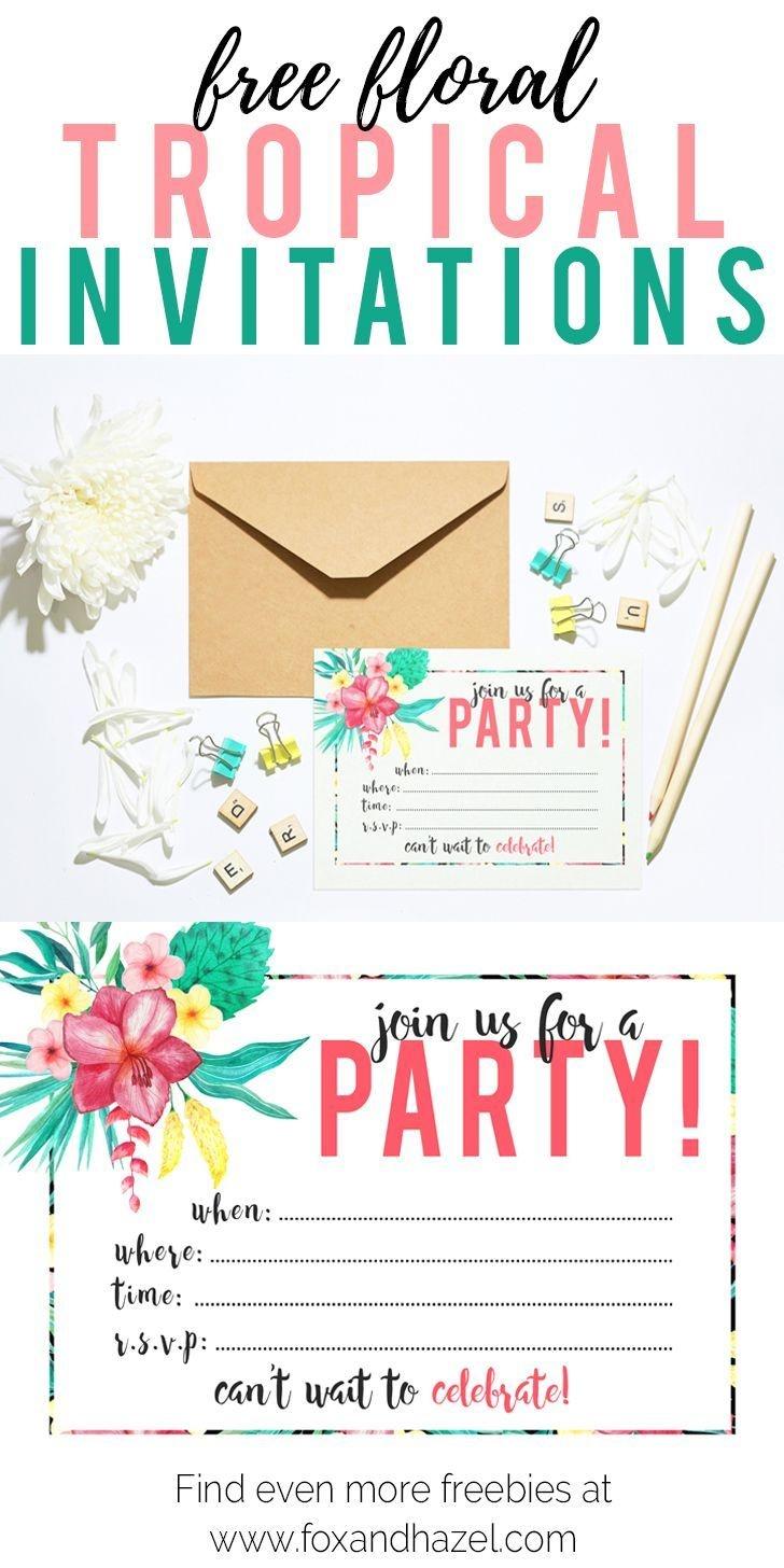 Free Printable Tropical Party Invitation | Diy | Parties | Luau - Hawaiian Party Invitations Free Printable