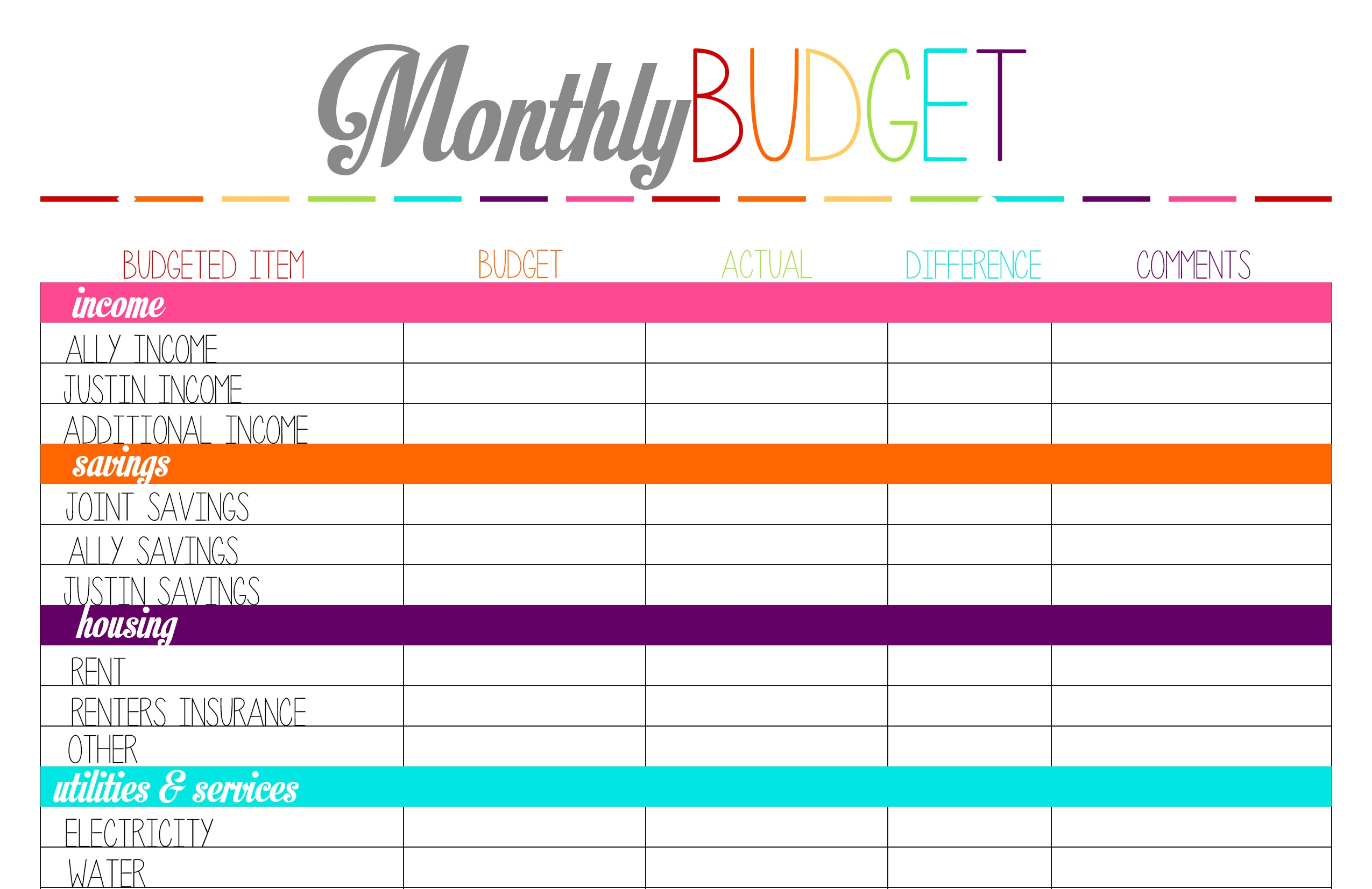 Free Printable Tuesday: Budget Planning Worksheets – Ally Jean Blog - Free Printable Monthly Bills Worksheet