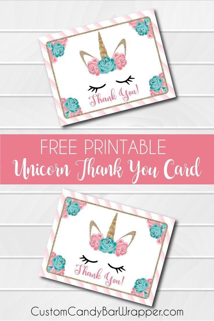 Free Printable Unicorn Thank You Cards | Addie's Wishes | Unicorn - Free Printable Mermaid Thank You Cards
