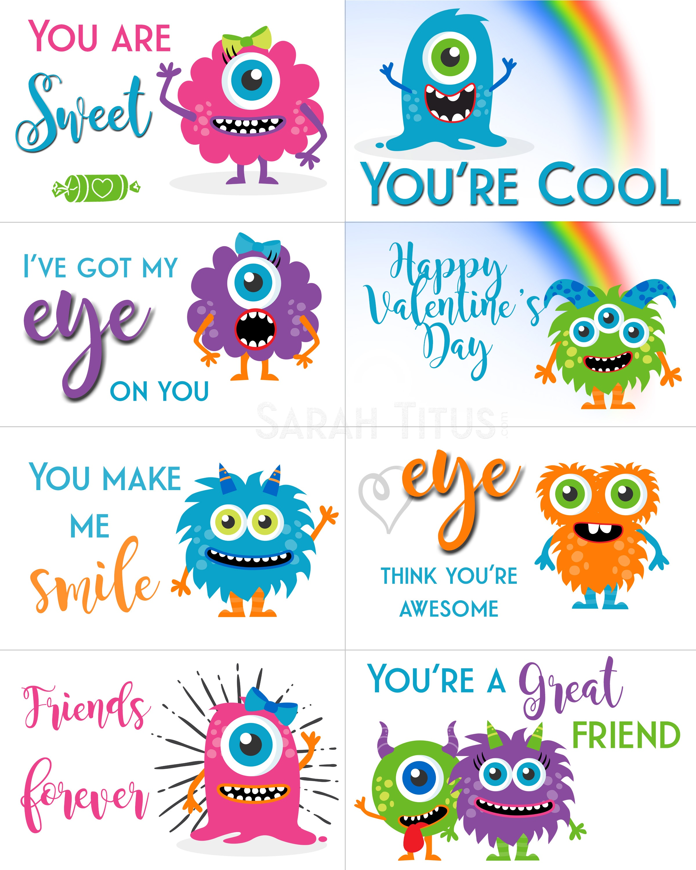 Free Printable Valentine Cards - Sarah Titus - Free Printable Valentine Cards For Kids