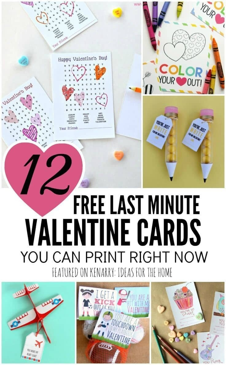 Free Printable Valentines: 12 Last Minute Cards You Can Print Now - Free Printable School Valentines Cards