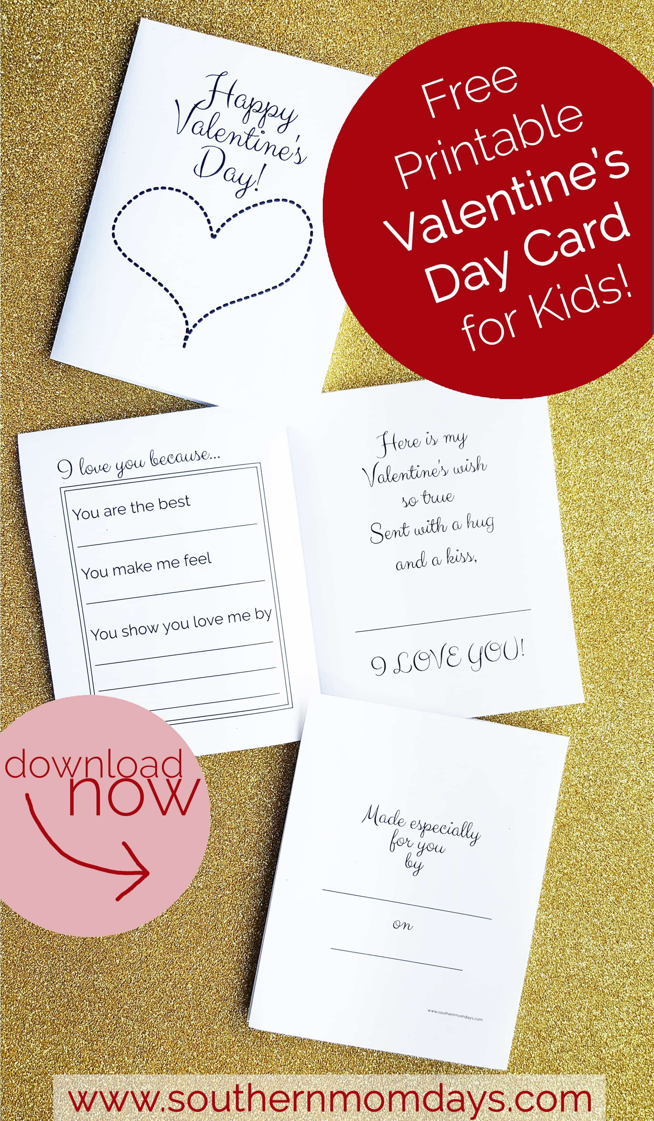 Free Printable: Valentine's Day Card For Kids   Valentine's Day - Free Printable Valentines Day Cards For Parents