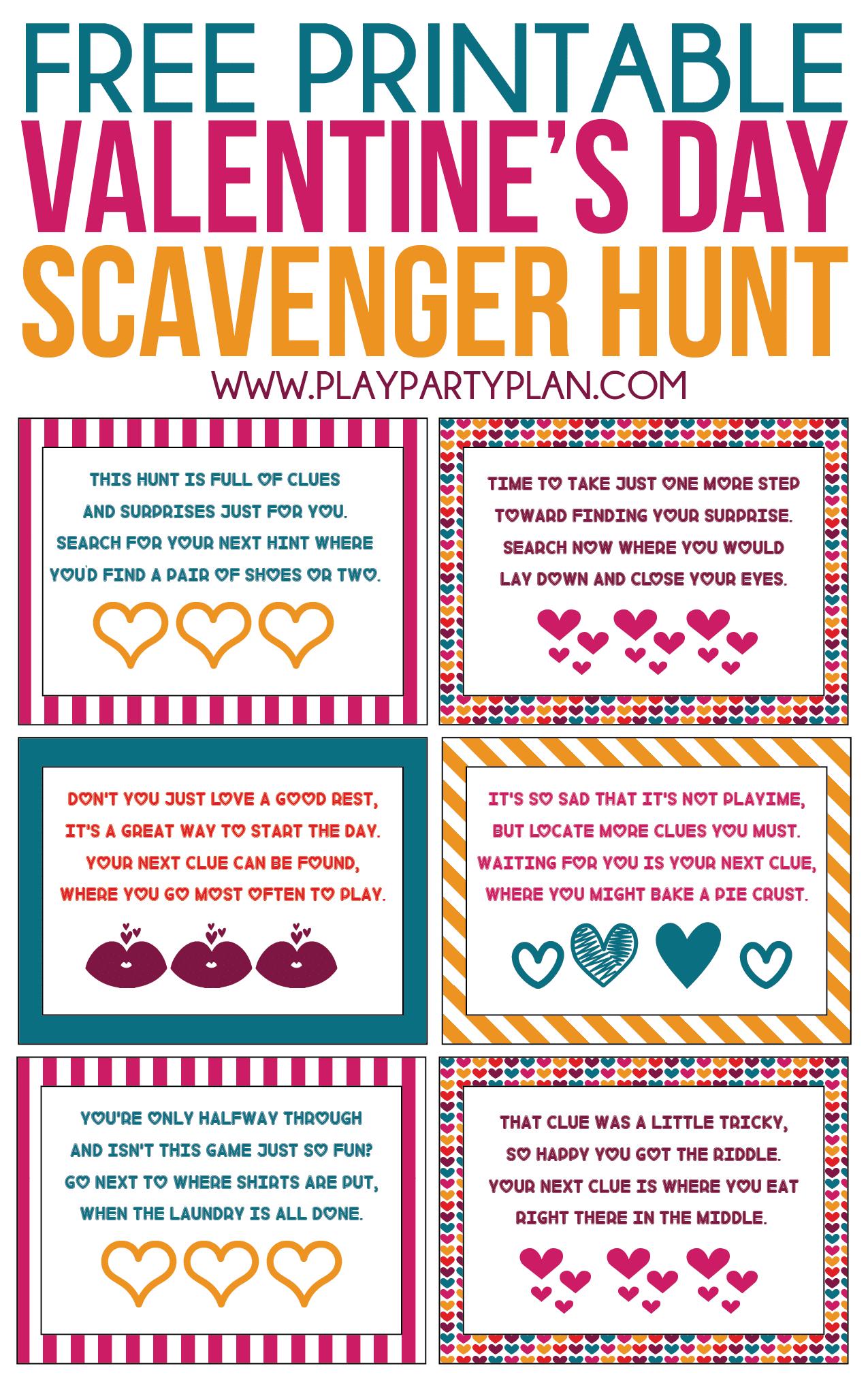 Free Printable Valentine's Day Scavenger Hunt Kids & Adults Will Love - Free Printable Valentine Cards For Husband