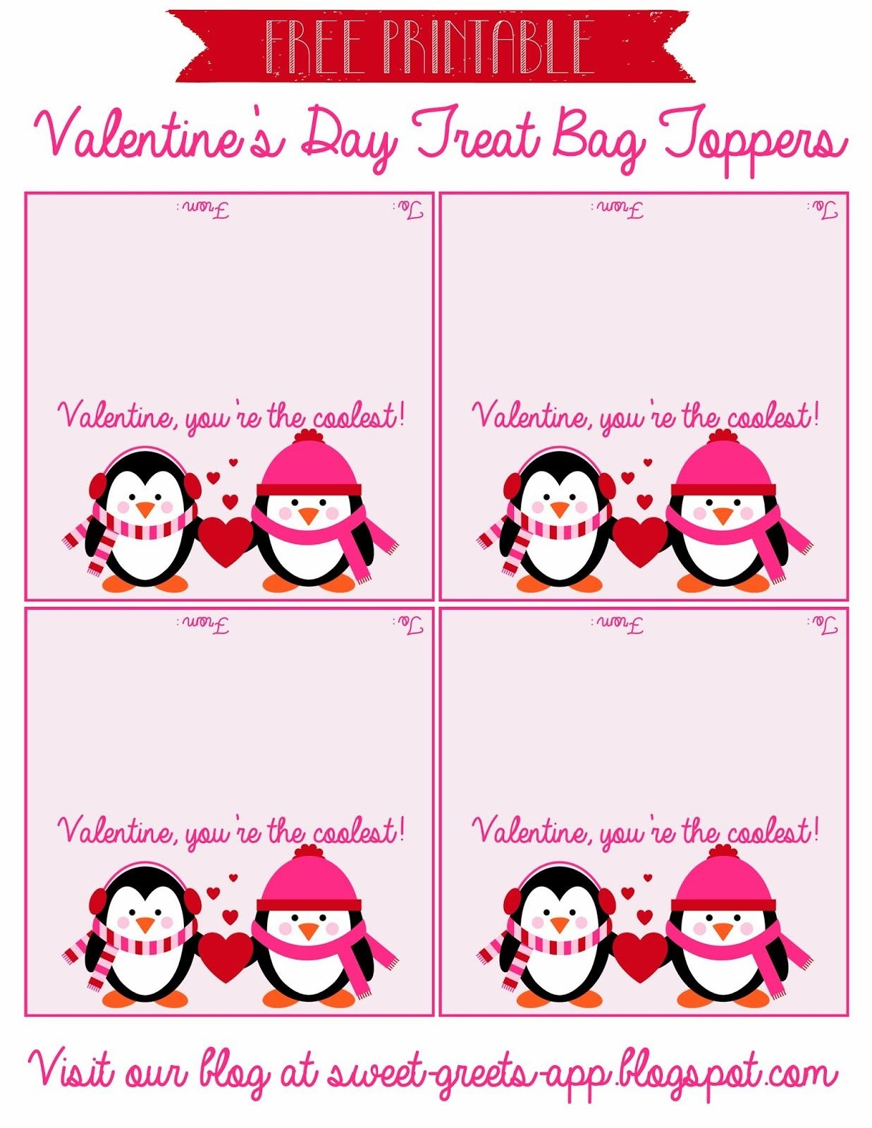 Free Printable Valentine's Day Treat Bag Toppers   Valentine's Day - Free Printable Bag Toppers