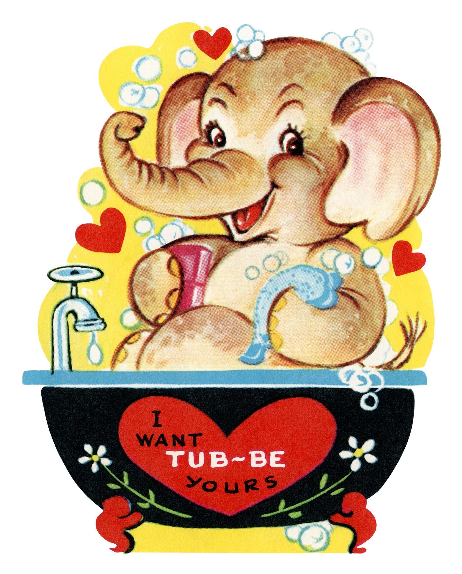 Free Printable Vintage Valentine Elephant In Tub - Old Design Shop Blog - Free Printable Vintage Valentine Clip Art