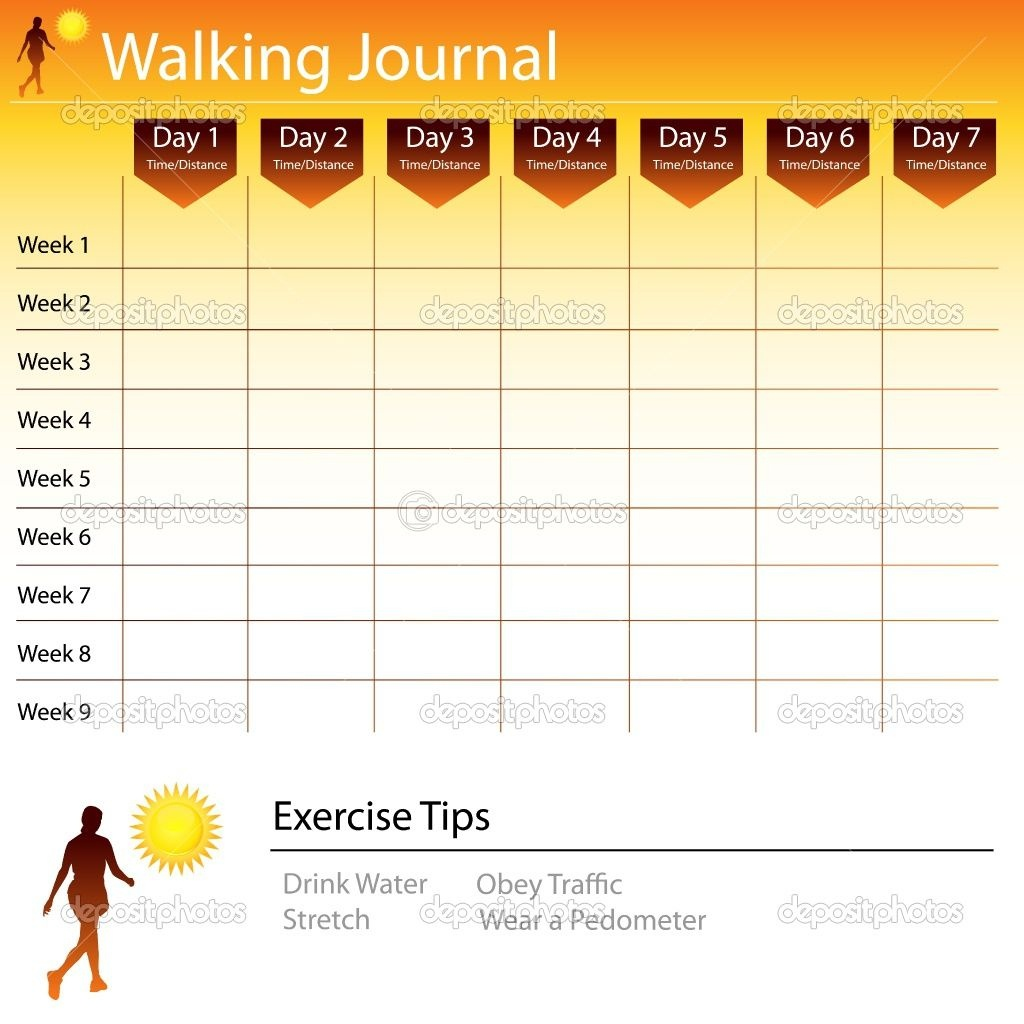 Free Printable Walking Log Chart | Walking Journal Chart | Stock - Free Printable Walking Log