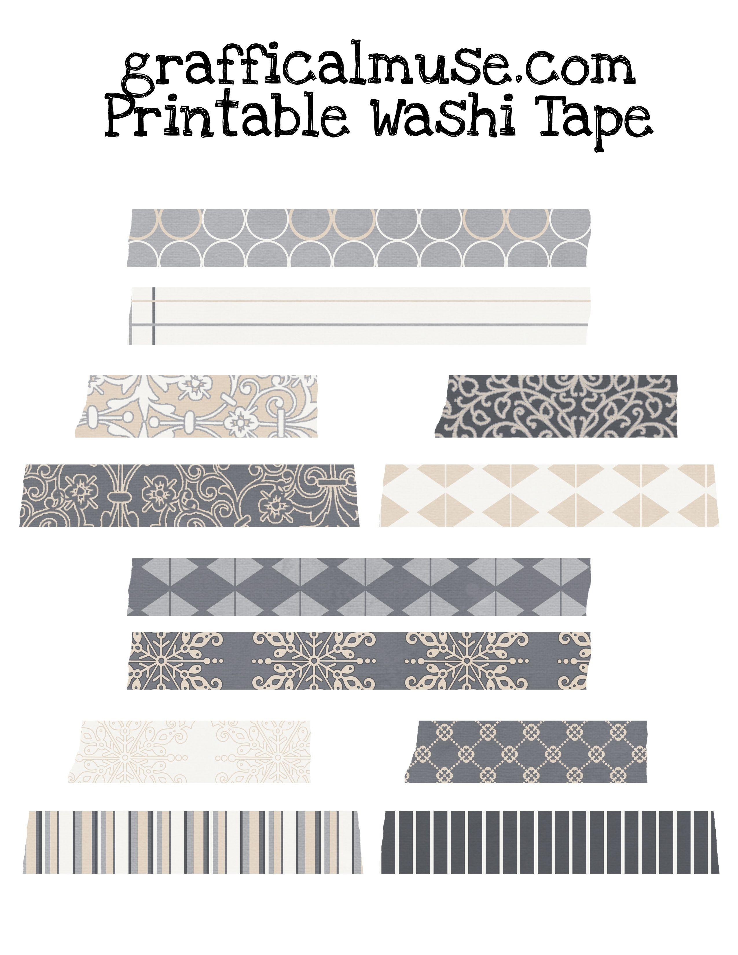 Free} Printable Washi Tape Neutral Patterns   Bullet Journal   Washi - Free Printable Washi Tape