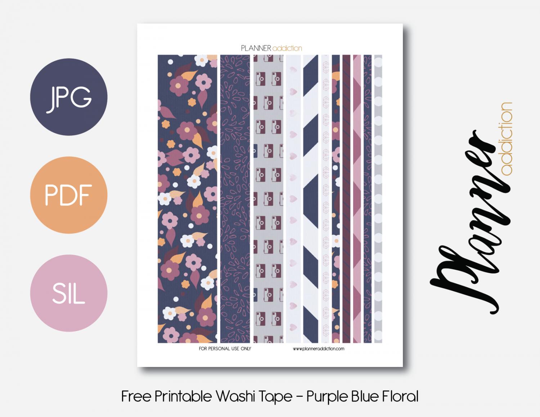 Free Printable Washi Tape - Purple Blue Floral   Planner   Washi - Free Printable Washi Tape