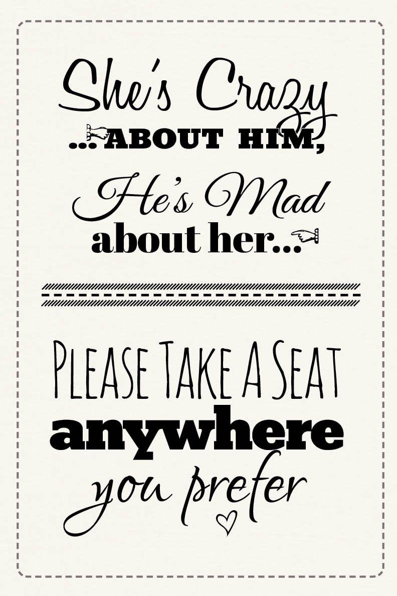 Free Printable Wedding Download: Pick A Seat Sign   Dream Come True - Free Printable Wedding Signs