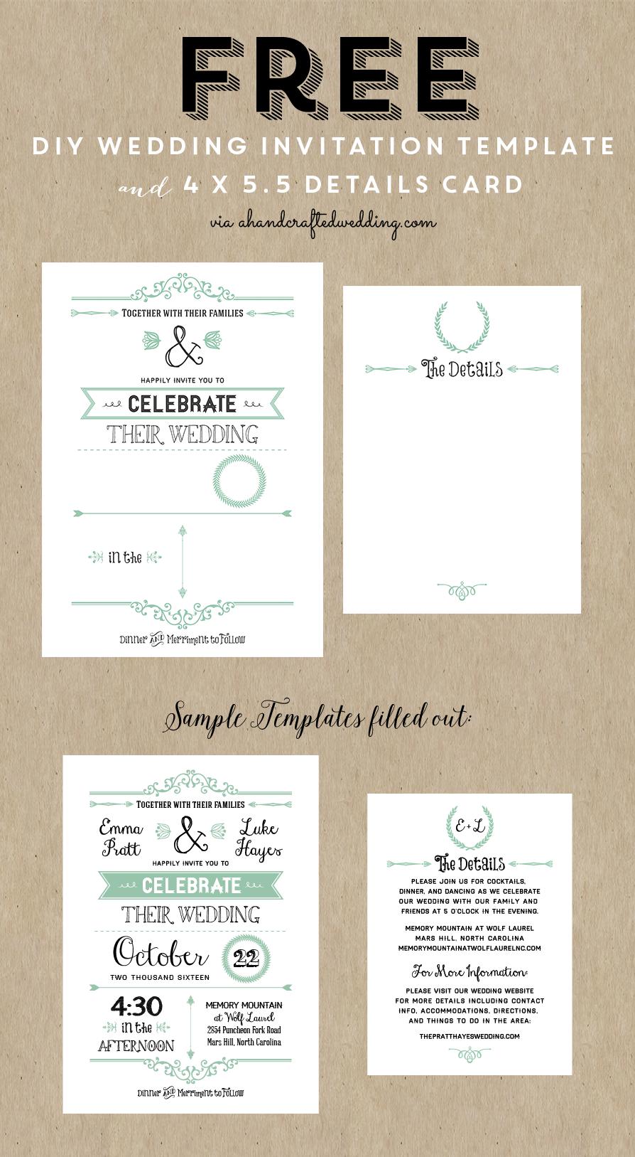 Free Printable Wedding Invitation Template   Wedding   Free Wedding - Free Printable Wedding Invitation Templates