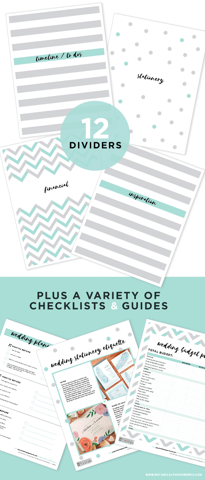 Free Printable Wedding Planning Binder | Blog | Botanical Paperworks - Free Printable Wedding Organizer Templates