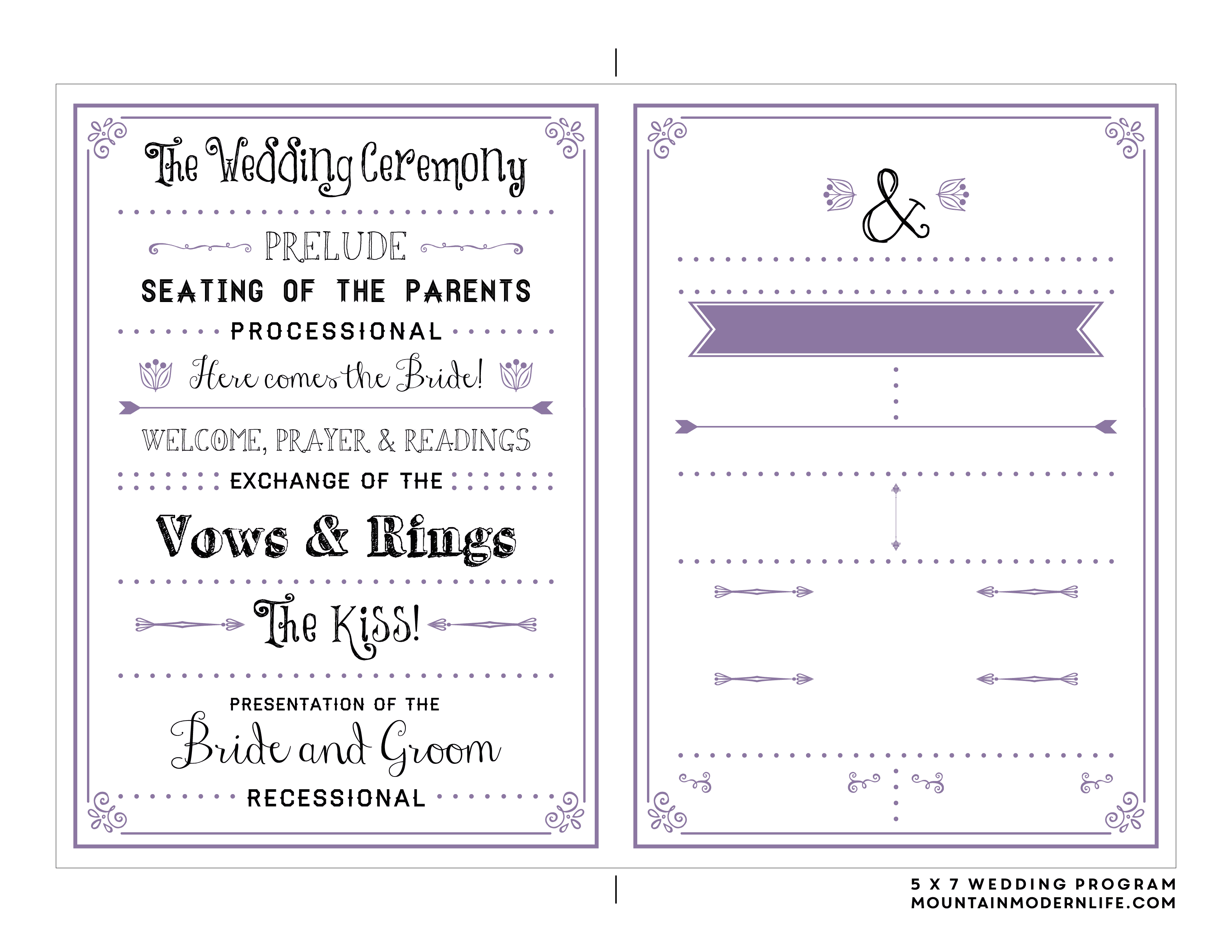 Free Printable Wedding Program   Mountainmodernlife - Free Printable Wedding Programs