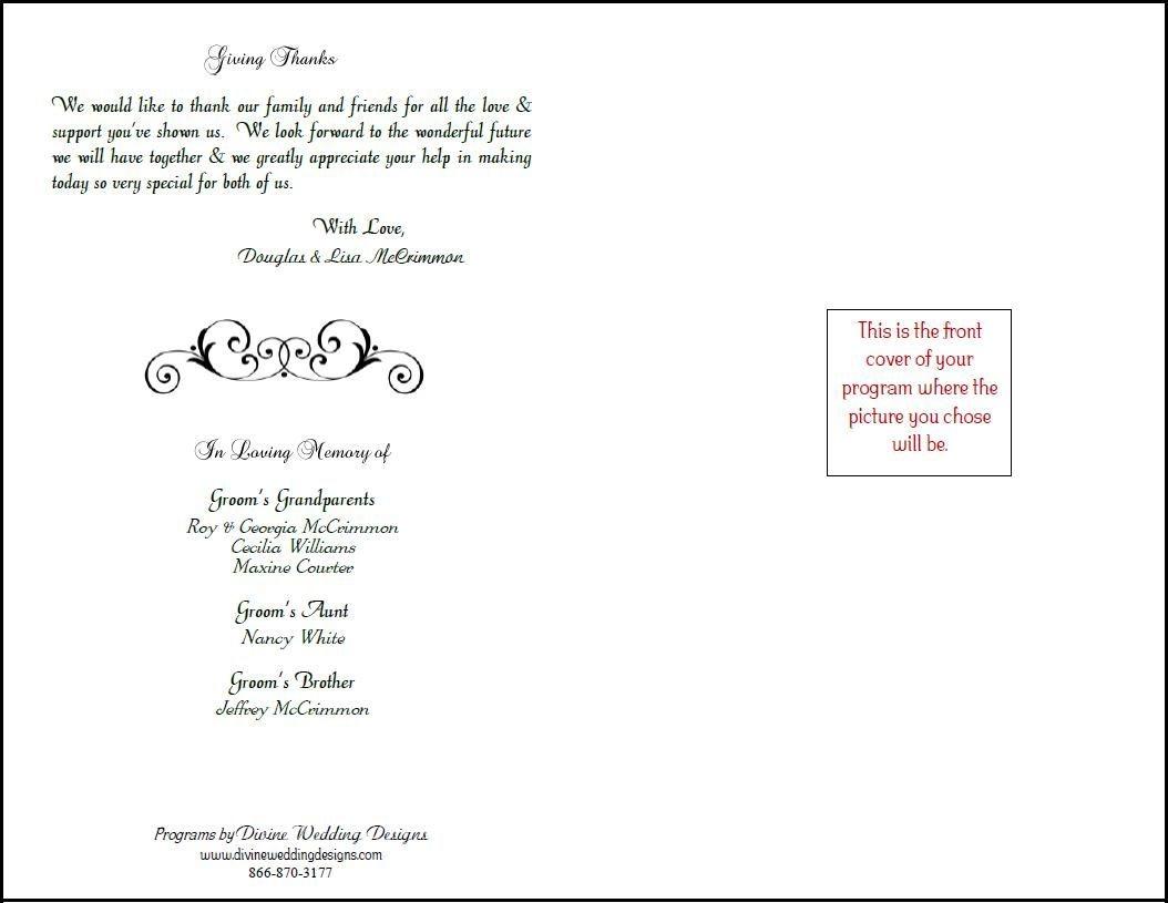 Free Printable Wedding Programs Templates    Bookfold Wedding - Free Printable Wedding Programs