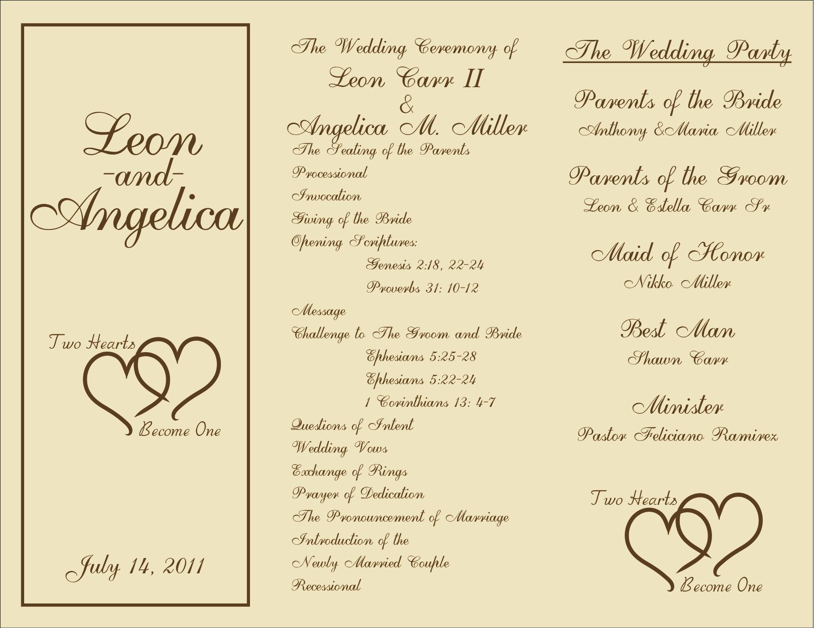 Free Printable Wedding Programs Templates   : Sample Wedding - Free Printable Wedding Programs
