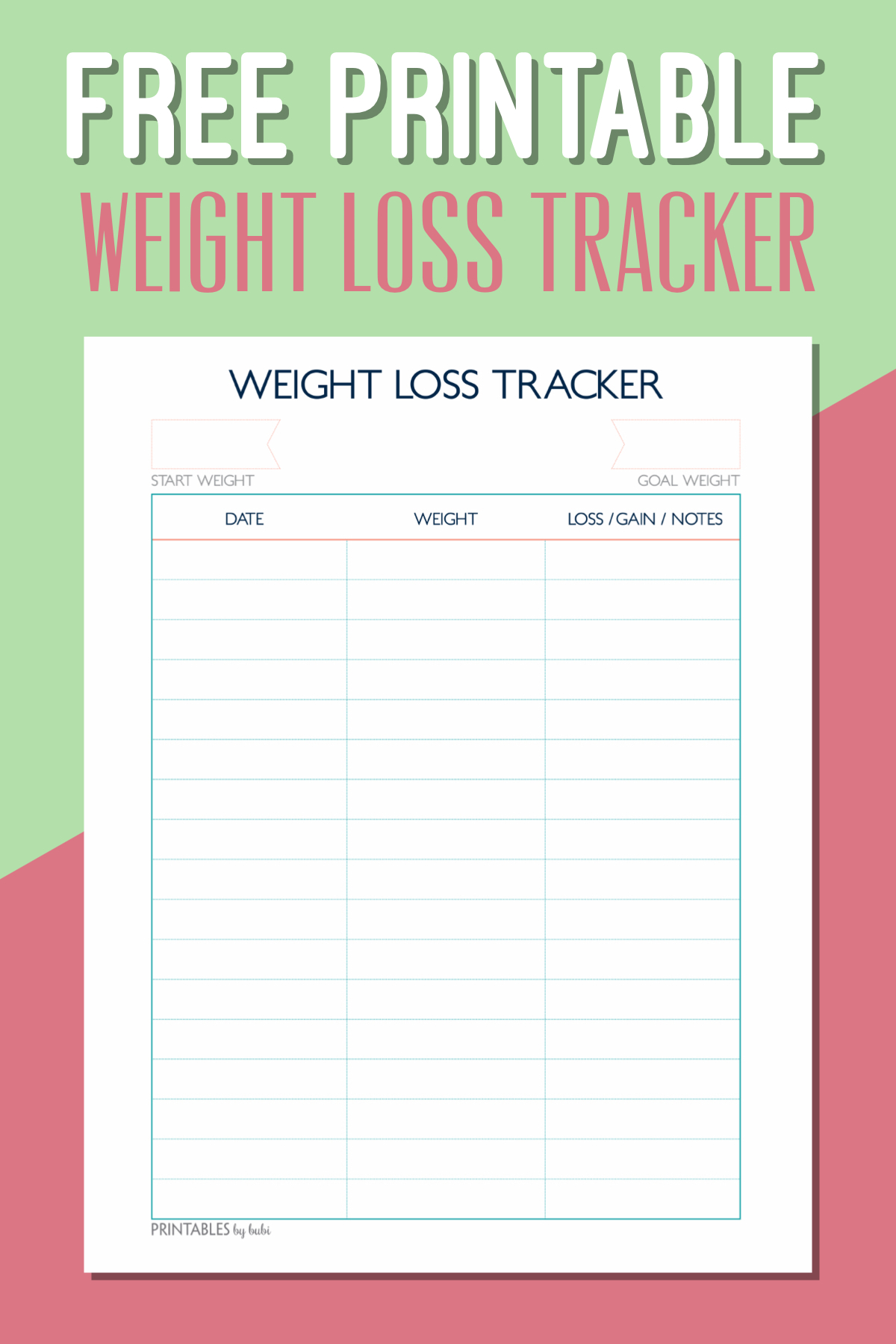 Free Printable Weight Loss Tracker – Instant Download Pdf - Free Printable Weight Loss Chart