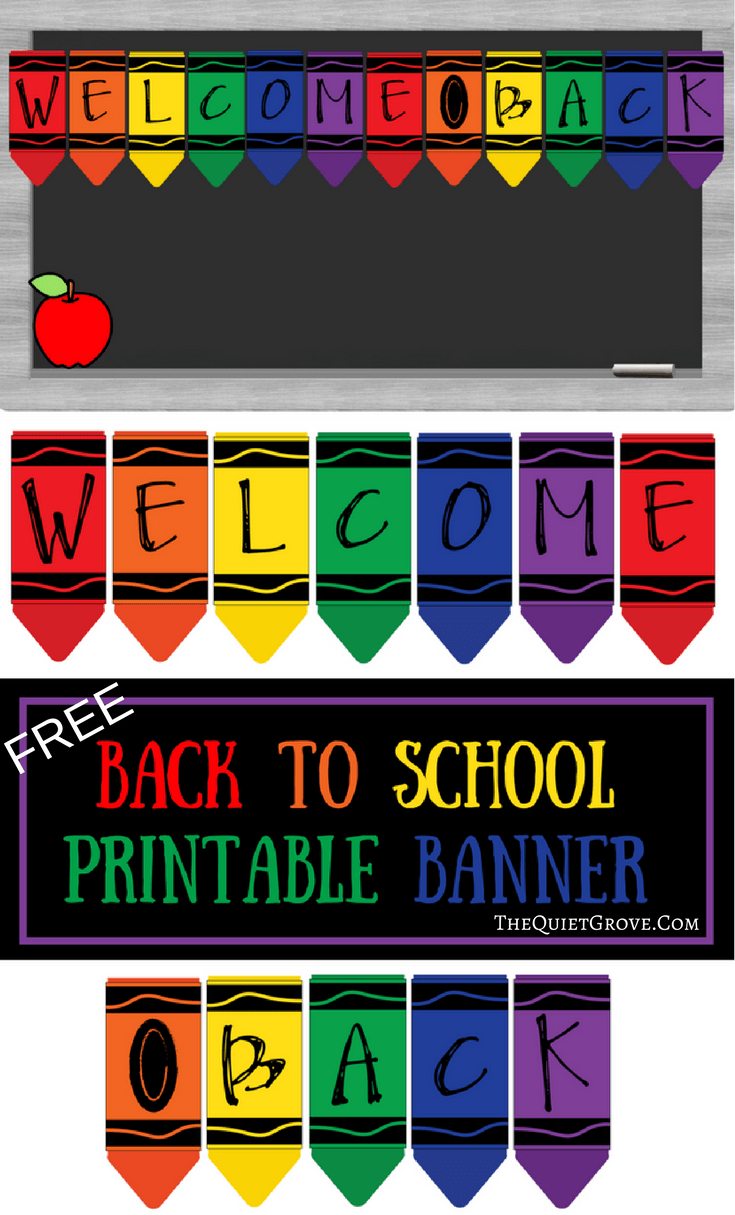 Free Printable Welcome Back To School Banner   The Quiet Grove - Welcome Back Banner Printable Free