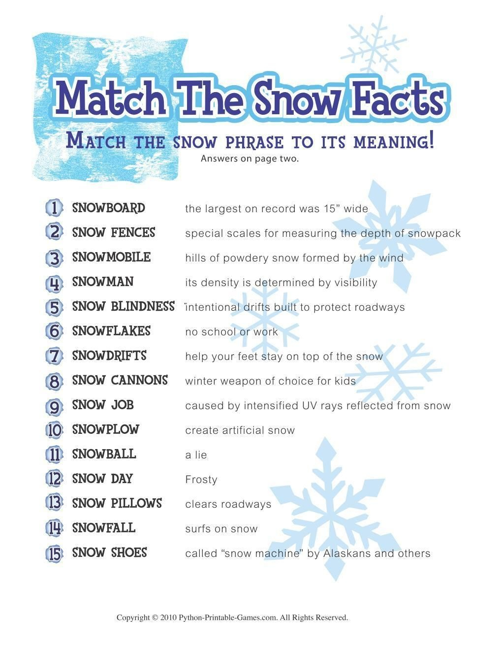 Free Printable Winter Game Match The Snow Facts Download | Winter - Free Printable Women's Party Games