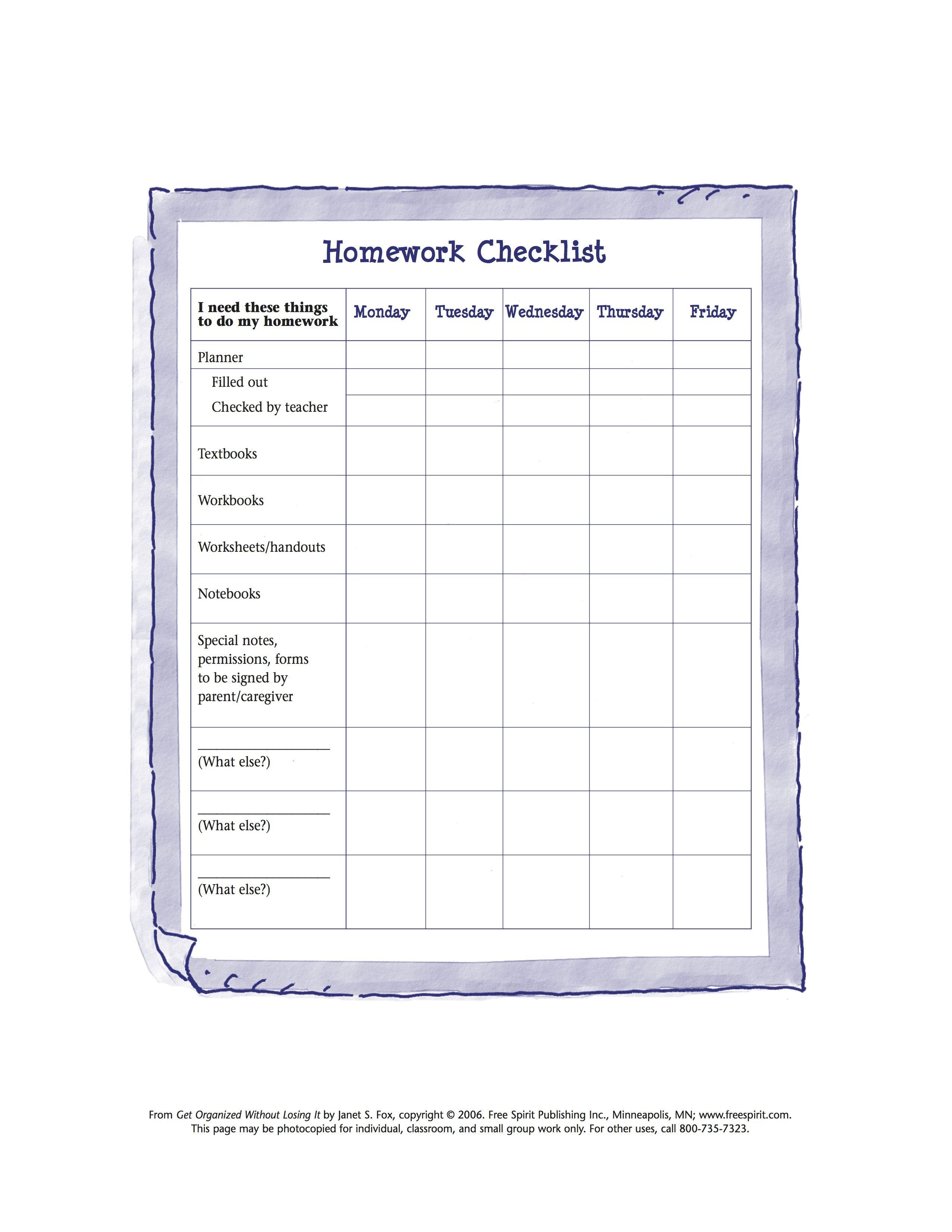 Free Printable Worksheet To Help Kids Organize Tools Needed For - Free Printable Homework Worksheets
