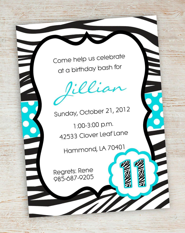 Free Printable Zebra Party Invitations   Printable Pink Turquoise - Free Printable Zebra Print Birthday Invitations