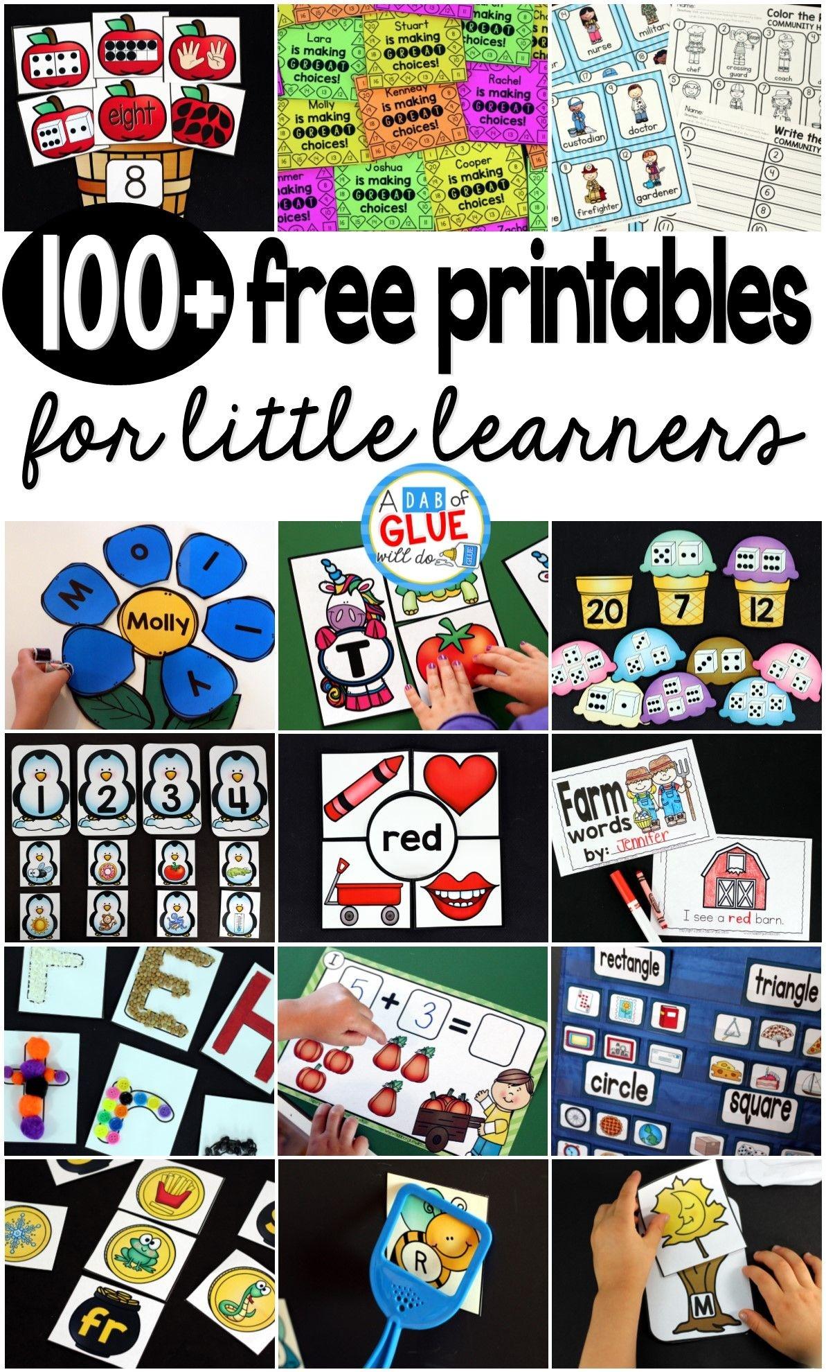 Free Printables | A Dab Of Glue Will Do Blog | Free Teaching - Free Printable Preschool Teacher Resources