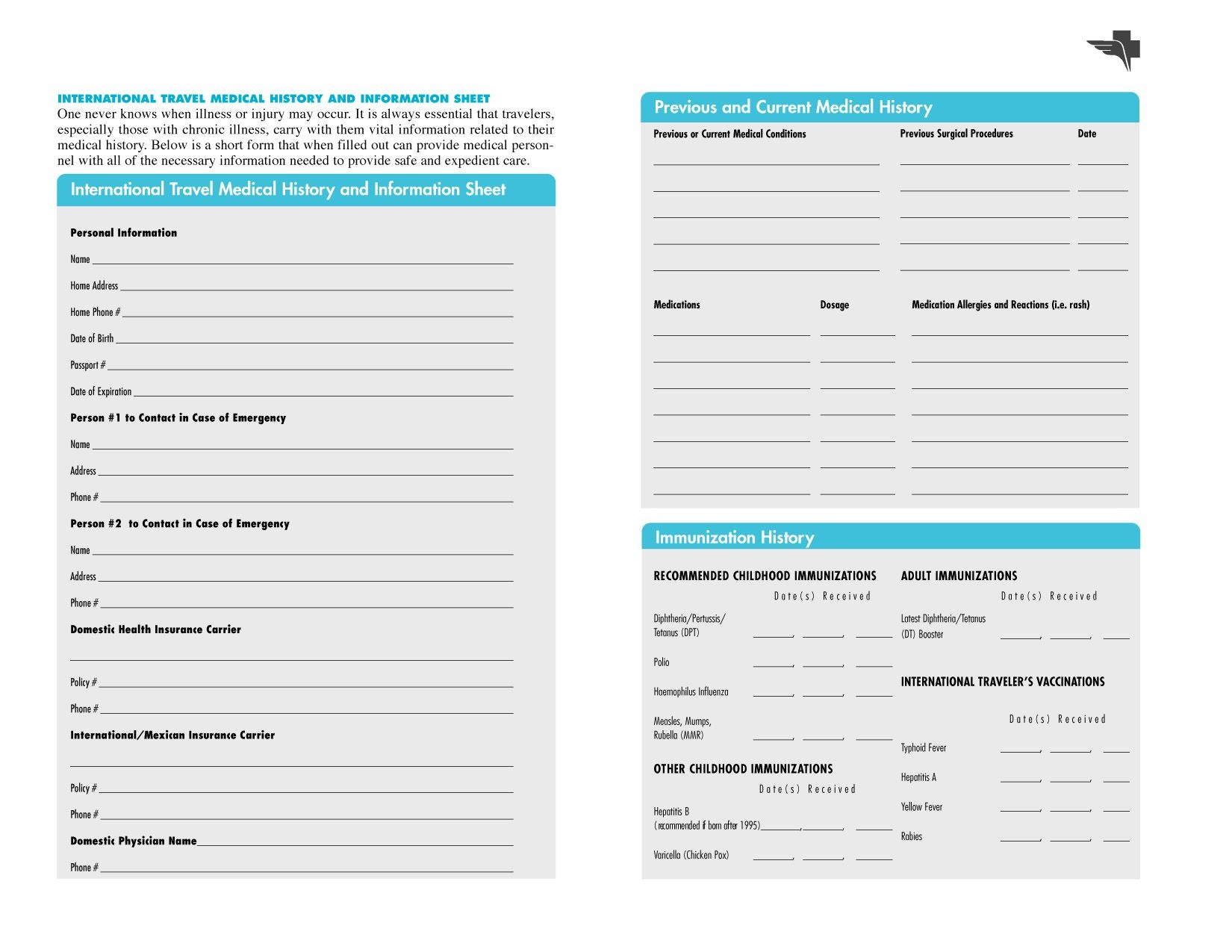Free Printables | Free Printable Family Medical History Forms - Free Printable Medical Chart Forms