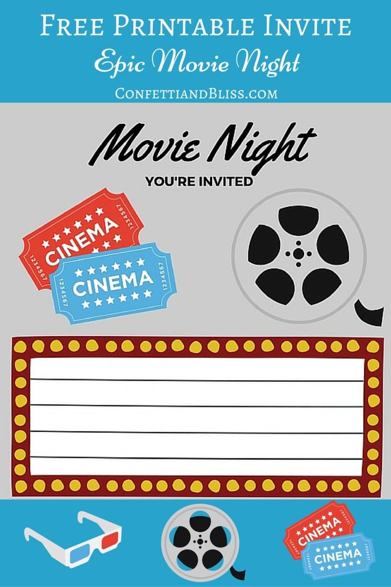 Free Printables | Printable Movie Night Invite - Movie Birthday Party Invitations Free Printable