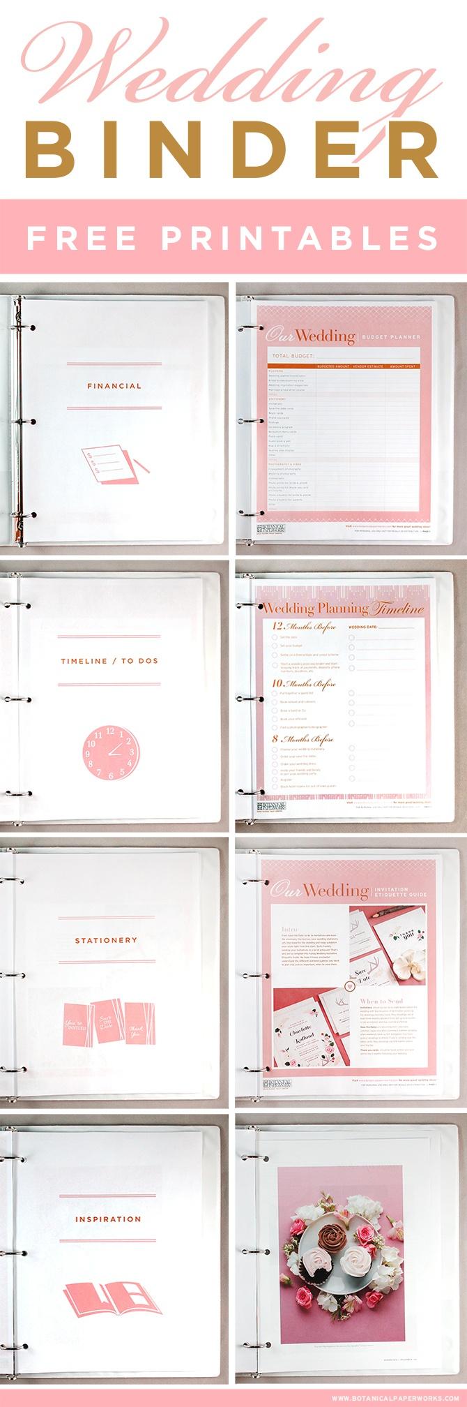 Free Printables} Wedding Planning Binder | Blog | Botanical Paperworks - Free Printable Wedding Organizer Templates