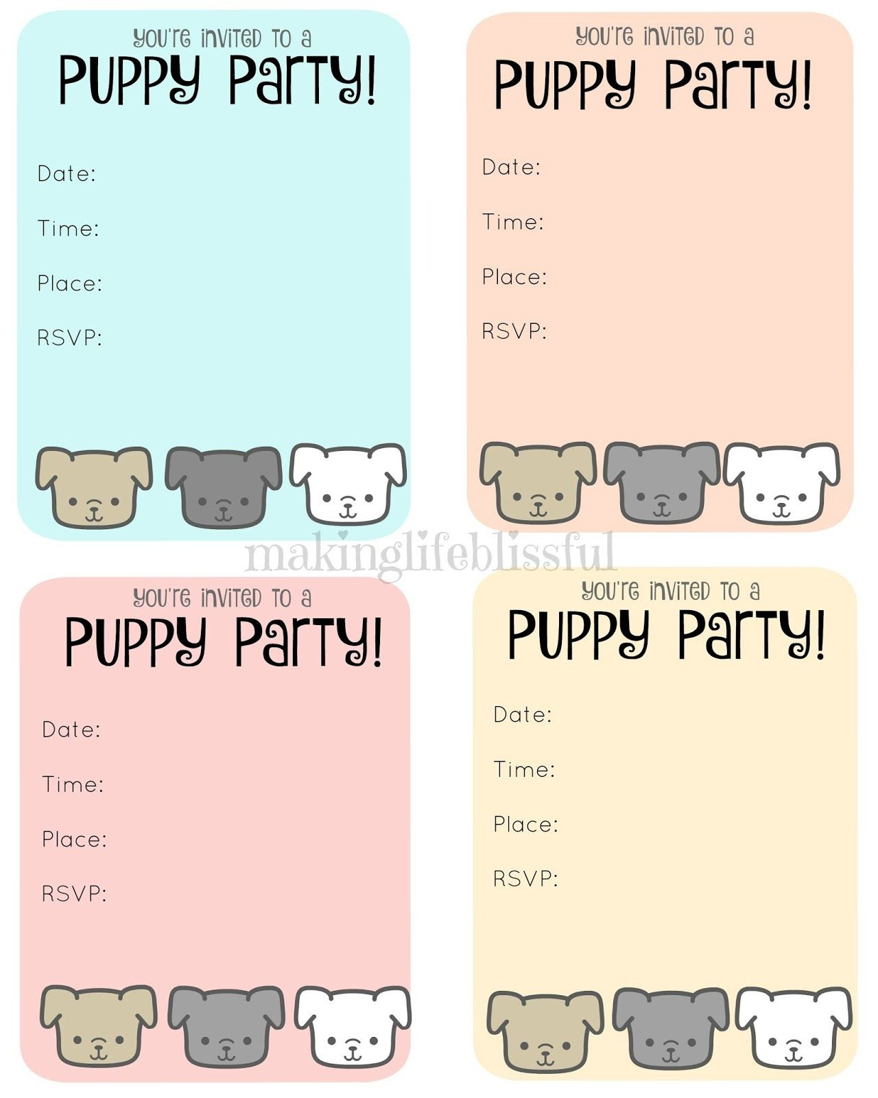 Free Puppy Party Printable Invite | Making Life Blissful | Kids - Dog Birthday Invitations Free Printable