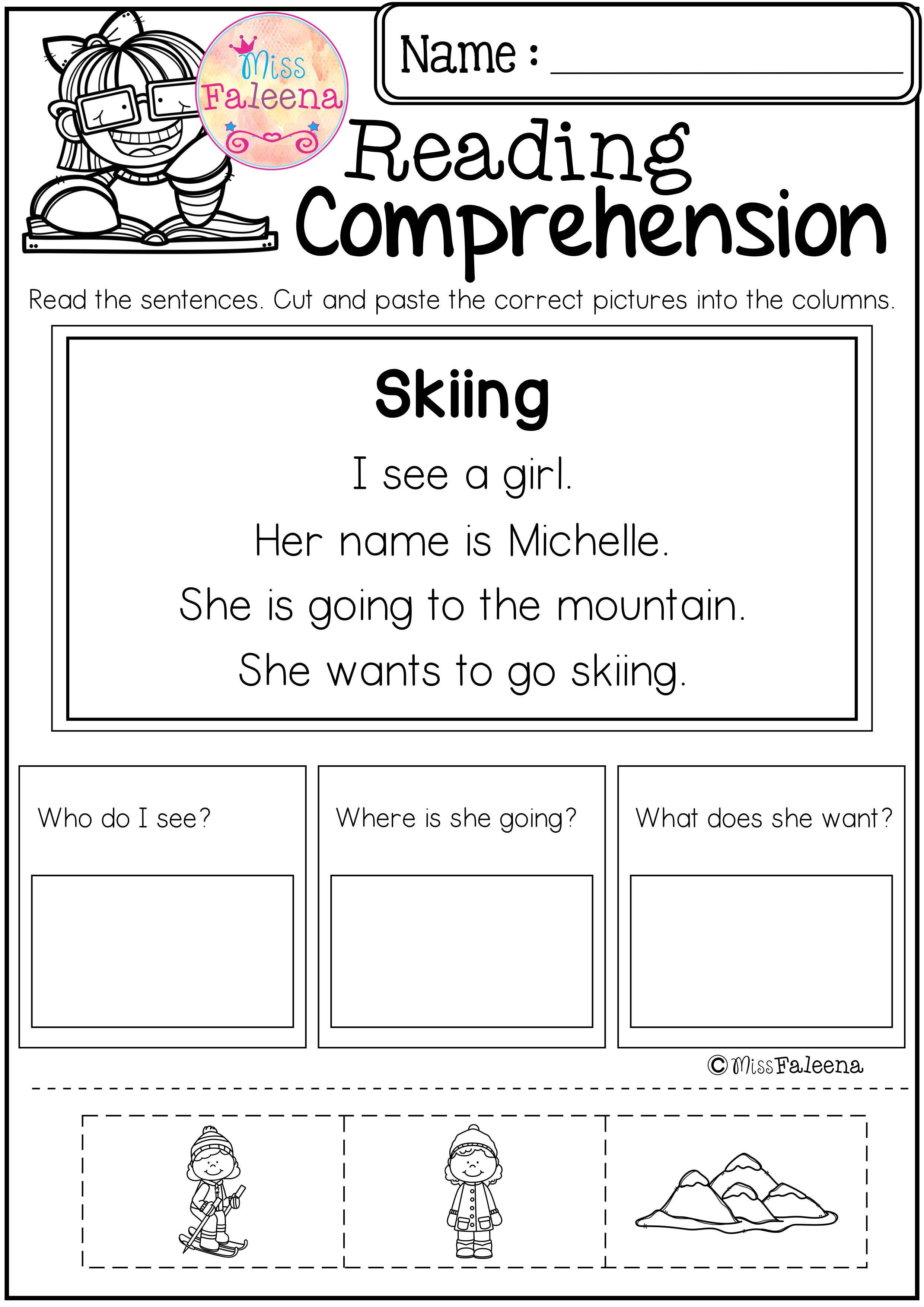 Free Reading Comprehension Cut And Paste | Literacy Resources - Free Printable Kindergarten Worksheets Cut And Paste