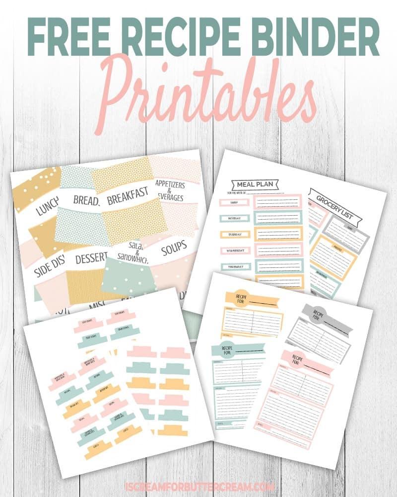 Free Recipe Binder Printables - I Scream For Buttercream - Free Printable Recipe Binder Templates