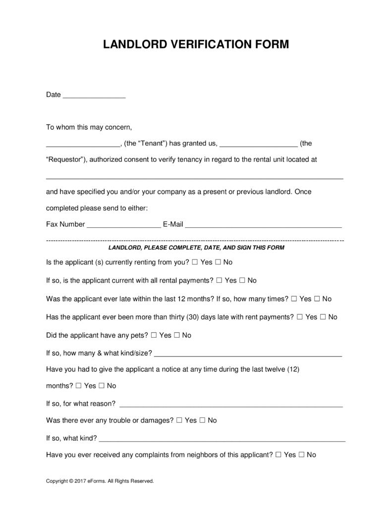 Free Rent (Landlord) Verification Form - Word | Pdf | Eforms – Free - Free Printable Landlord Forms