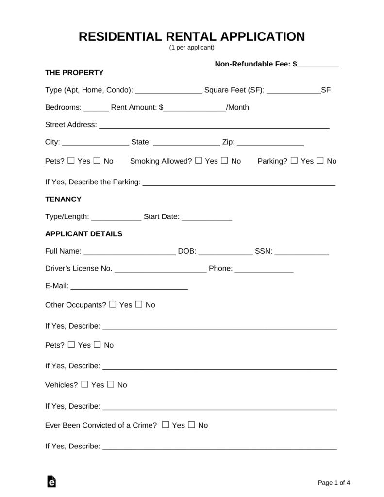 Free Rental Application Form - Pdf | Word | Eforms – Free Fillable Forms - Free Printable House Rental Application Form