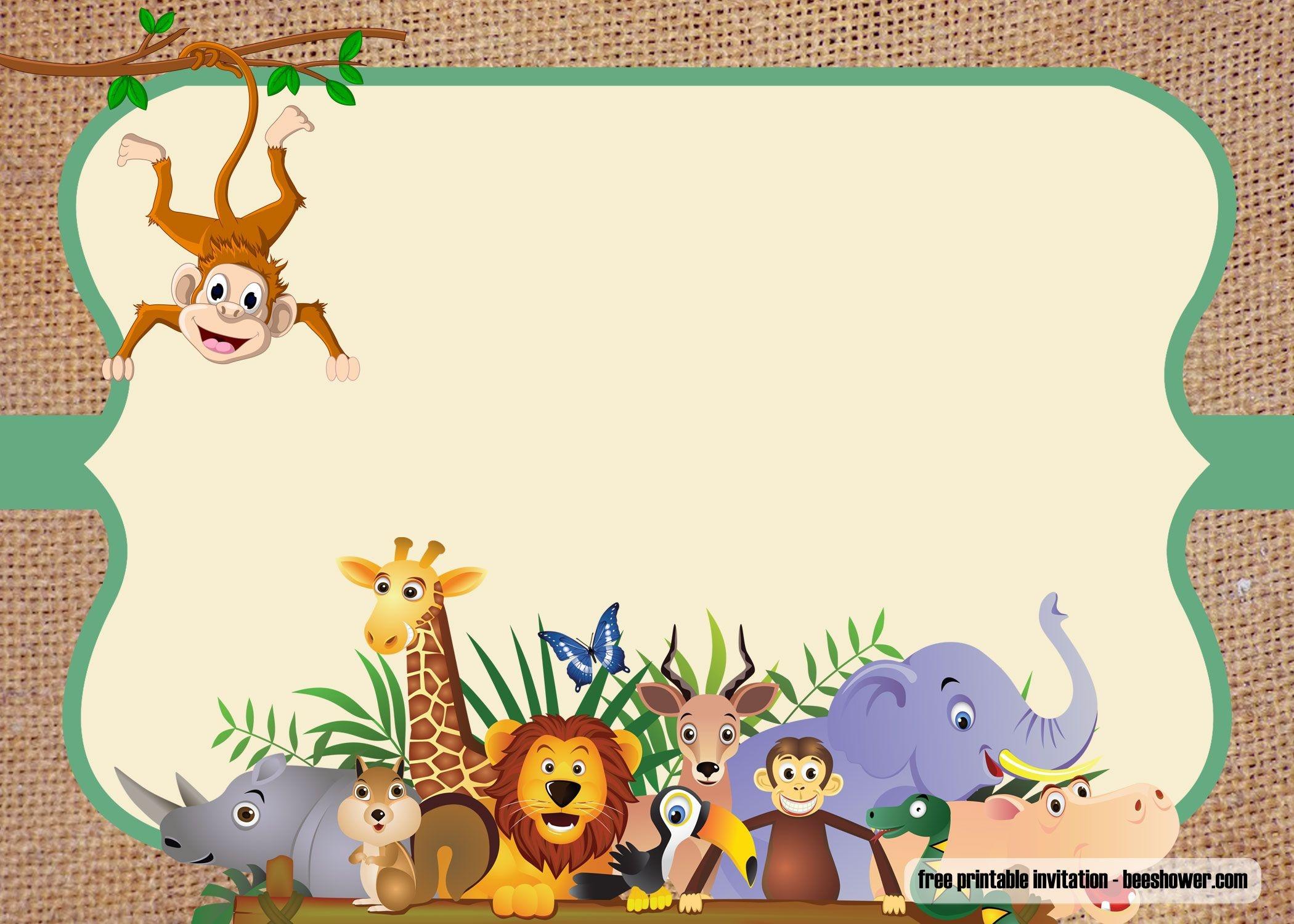 Free Safari Theme Baby Shower Invitations   Free Printable - Jungle Theme Birthday Invitations Free Printable