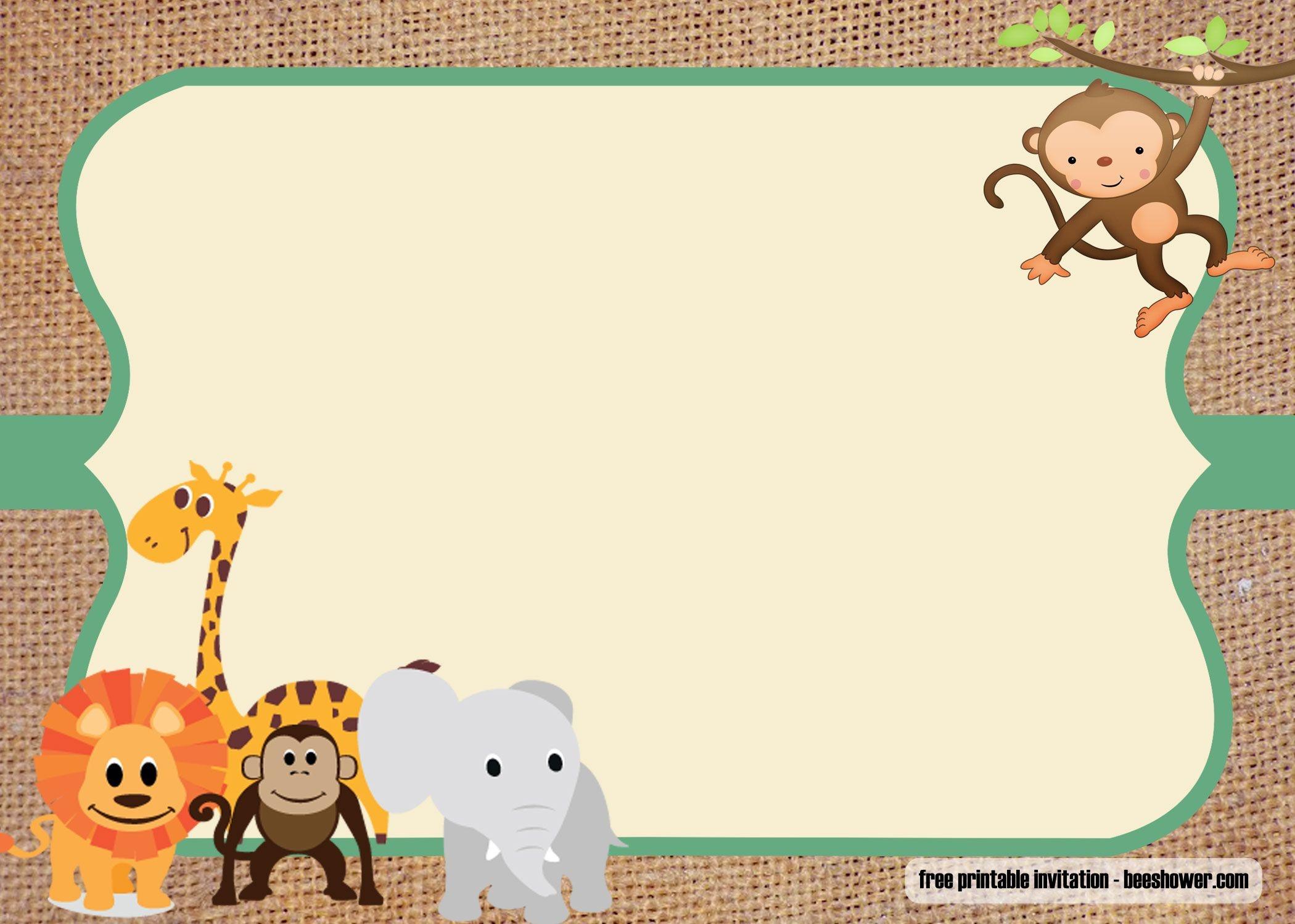 Free Safari Theme Baby Shower Invitations Templates | Free Printable - Free Printable Jungle Safari Baby Shower Invitations