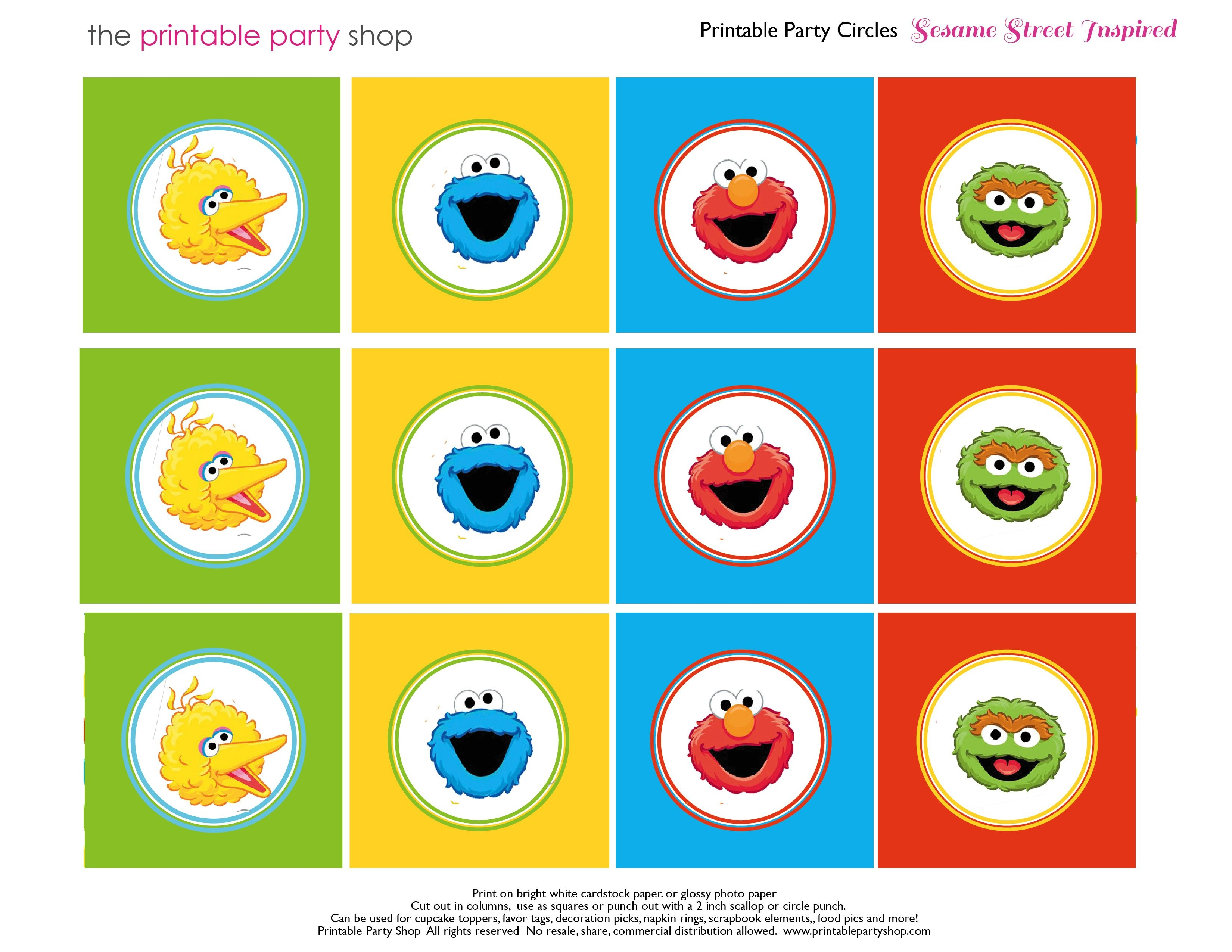 Free Sesame Street Printables   Party-Circles-Characters-Colorblocks - Free Printable Sesame Street Food Labels