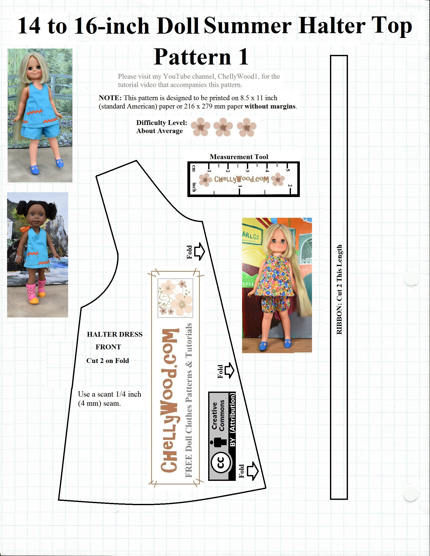 Free #sewing Pattern For 14″ (35 Cm) #dolls @ Chellywood #crafts - 18 Inch Doll Clothes Patterns Free Printable